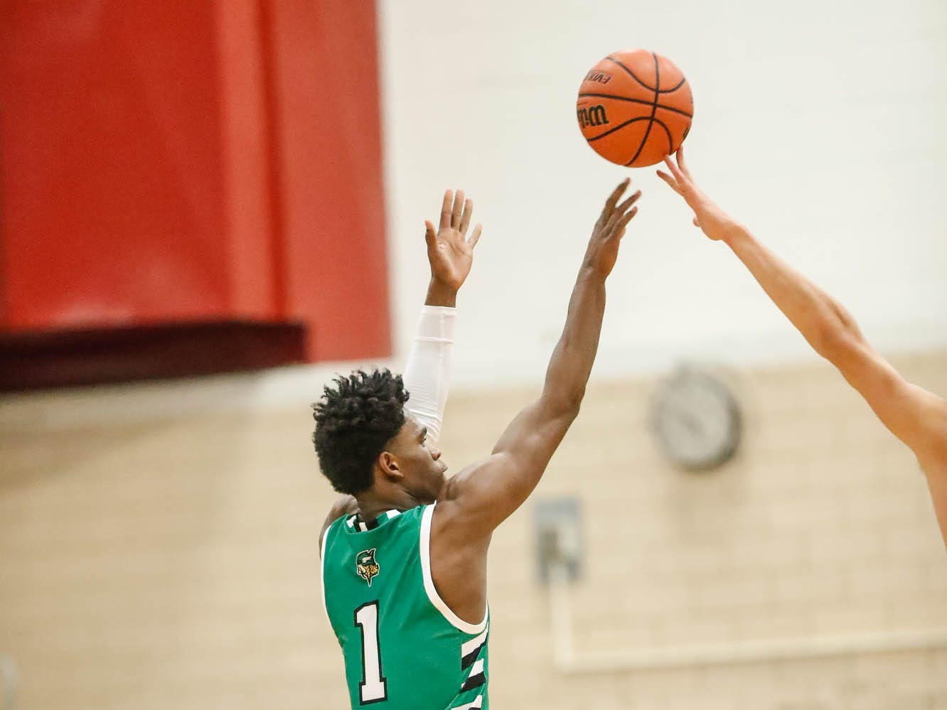 Valparaiso High School's Brandon Newman (1) shoots for the hoop during a game between Zionsville Community High School, and Valparaiso High School, in the 4th Annual Manuel Extravaganza Showcase held at Emmerich Manuel High School in Indianapolis on Saturday, Dec. 22, 2018.