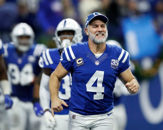 Indianapolis Colts kicker Adam Vinatieri (4) celebrates with Colts win late in the fourth quarter of their game at Lucas Oil Stadium on Sunday, Dec. 23, 2018. The Colts defeated the Giants