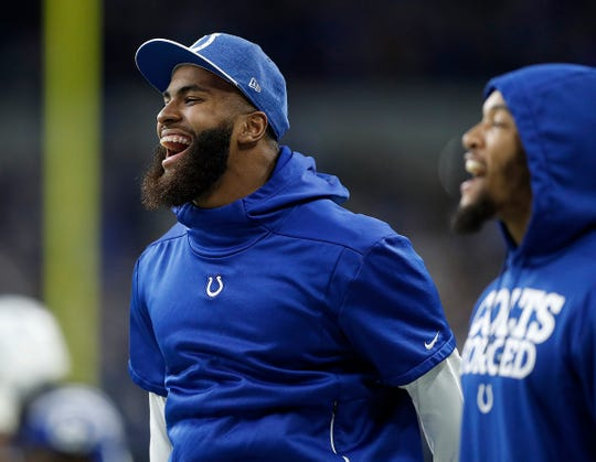 Indianapolis Colts middle linebacker Anthony Walker (50) celebrates the Colts win late in the fourth quarter of their game at Lucas Oil Stadium on Sunday, Dec. 23, 2018. The Colts defeated the Giants