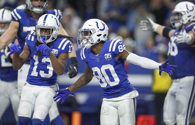 Indianapolis Colts wide receiver Chester Rogers (80) celebrates his game-winning touchdown late in fourth quarter of their game at Lucas Oil Stadium on Sunday, Dec. 23, 2018. The Colts defeated the Giants 28-27.