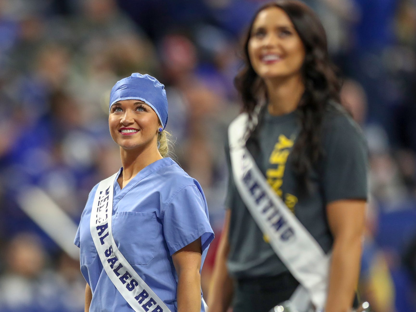 Indianapolis Colts cheerleaders wear their real world professional work attire as a uniform during the game against the New York Giants at Lucas Oil Stadium in Indianapolis on Sunday, Dec. 23, 2018.
