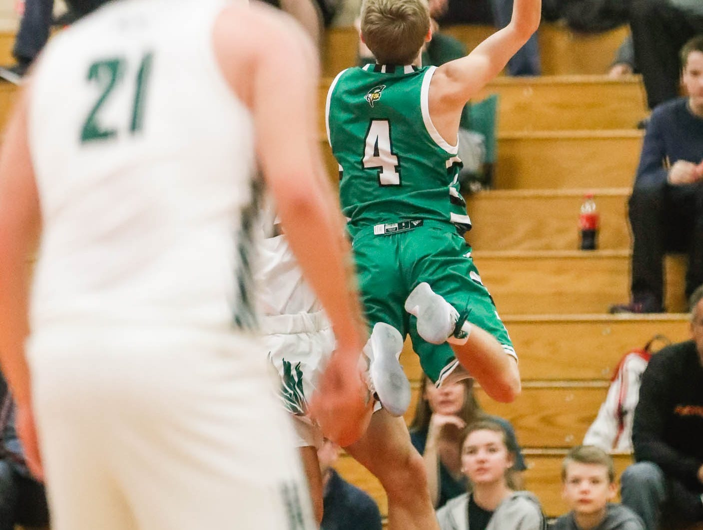 Valparaiso High School's Colin Walls (4) leaps for a layup during a game between Zionsville Community High School, and Valparaiso High School, in the 4th Annual Manuel Extravaganza Showcase held at Emmerich Manuel High School in Indianapolis on Saturday, Dec. 22, 2018.