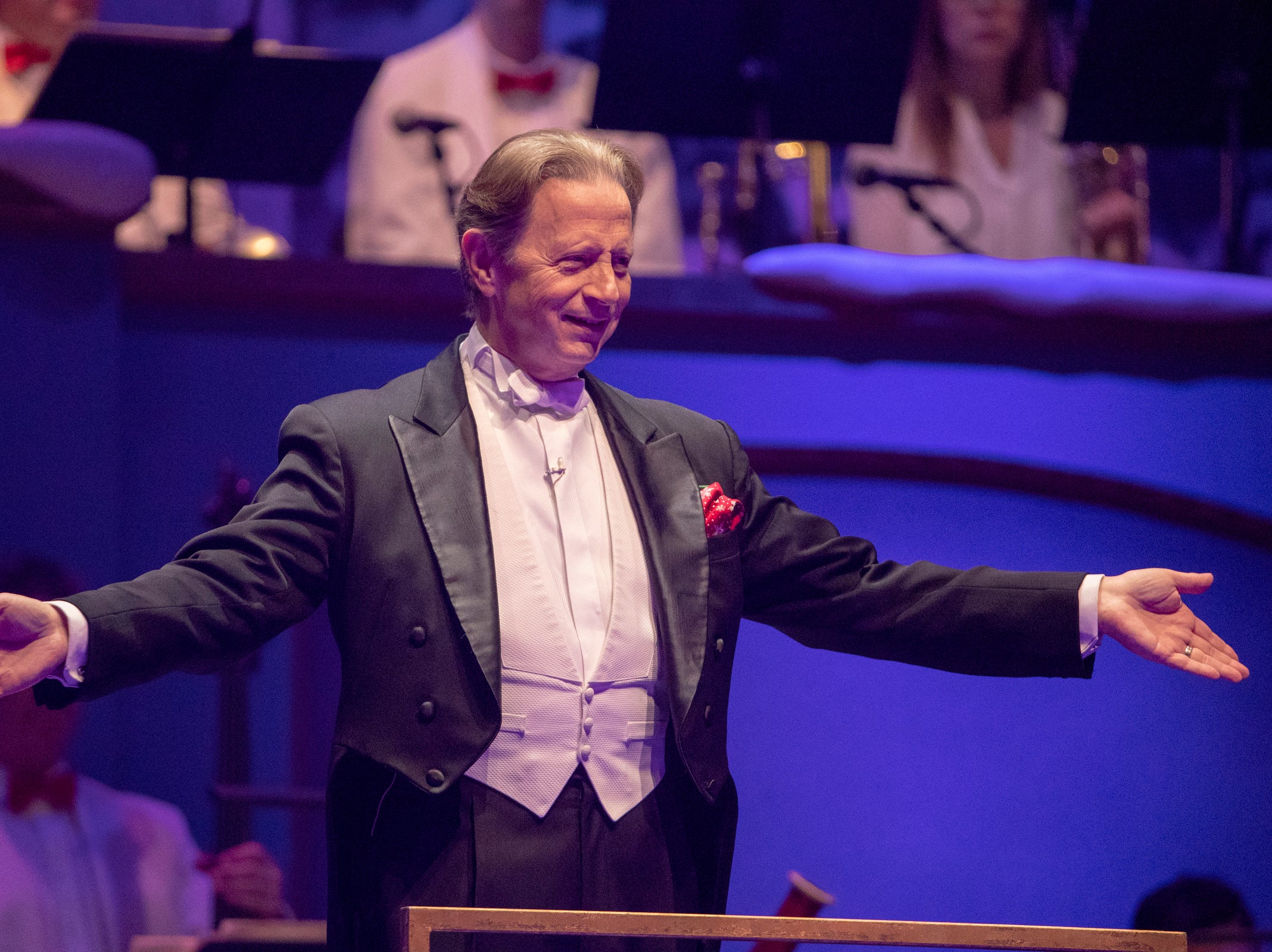 Jack Everly, Conductor, at Yuletide Celebration, showcasing the Indianapolis Symphony Orchestra, at Hilbert Circle Theater, Indianapolis, Sunday. Dec. 23, 2018. The extravaganza features dancing, holiday songs, and skits.