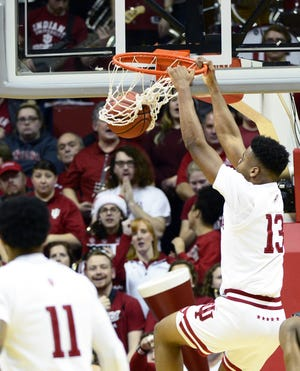 Indiana Hoosiers forward Juwan Morgan (13) dunks the ball during the game against Jacksonville at Simon Skjodt Assembly Hall in Bloomington, Ind., on Saturday, Dec. 22, 2018.