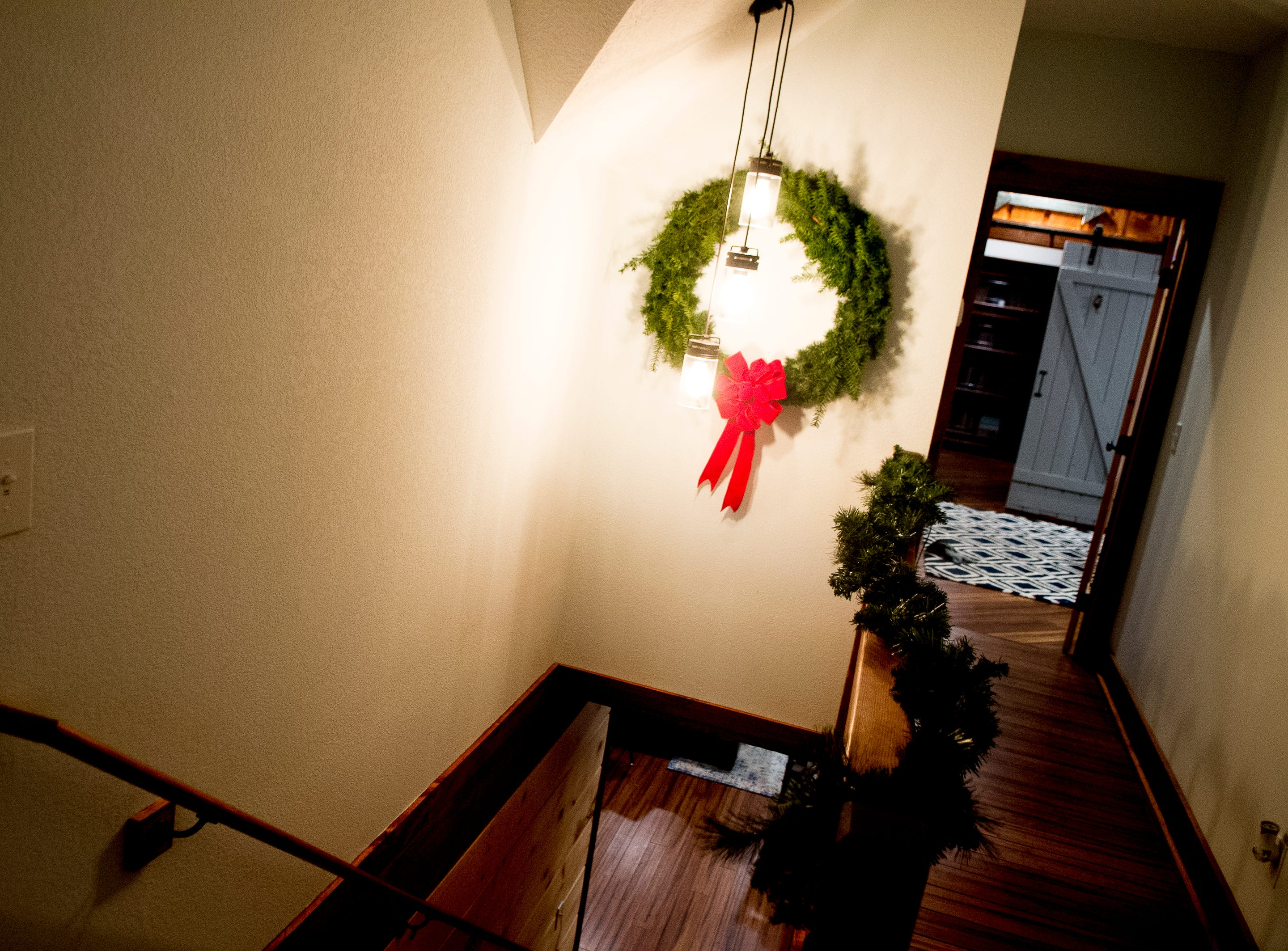 The staircase inside the Greiner family home in West Knoxville, Tennessee on Thursday, December 20, 2018.