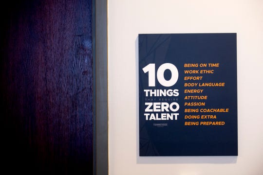 "A ""10 Things That Require Zero Talent"" sign hangs in the film room during a tour of the newly revamped Lady Vols locker room inside Thompson-Boling Arena in Knoxville, Tennessee on Thursday, December 20, 2018."