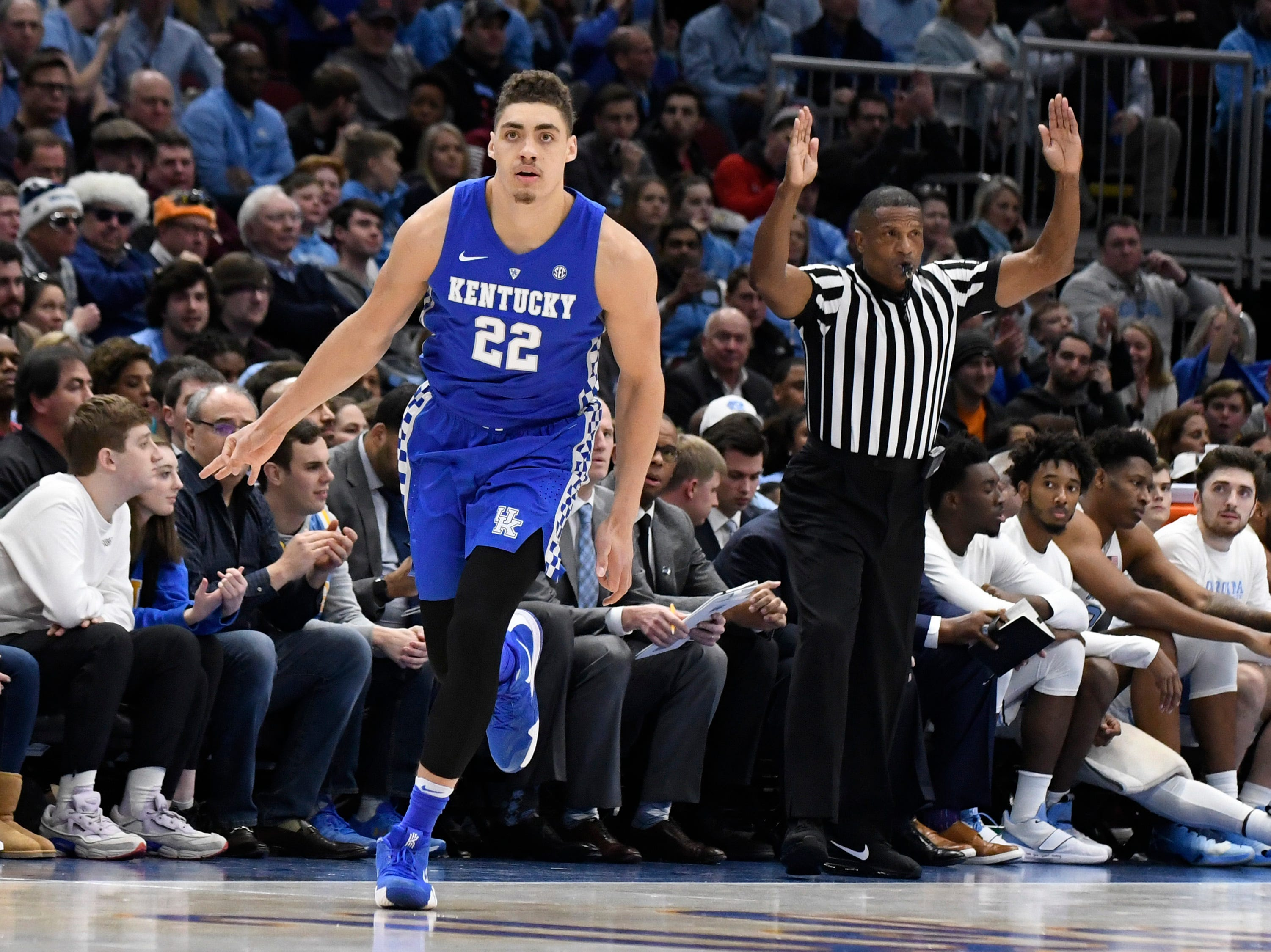 Dec 22, 2018; Chicago, IL, USA; Kentucky Wildcats forward Reid Travis (22) gestures after making a three-point basket against the North Carolina Tar Heels during the first half at United Center.