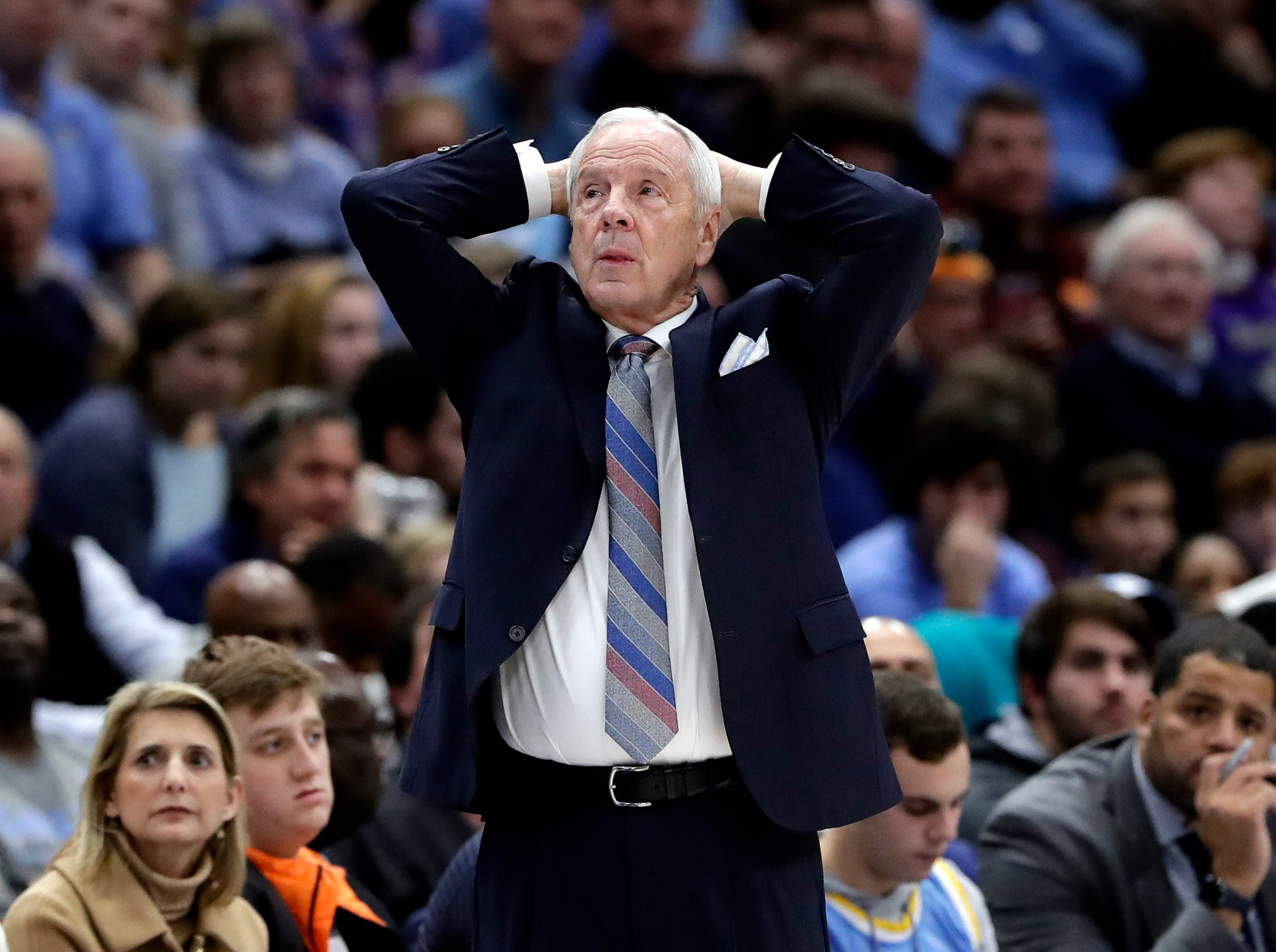 North Carolina head coach Roy Williams watches his team during the second half of an NCAA college basketball game against Kentucky in the fifth annual CBS Sports Classic, Saturday, Dec. 22, 2018, in Chicago.