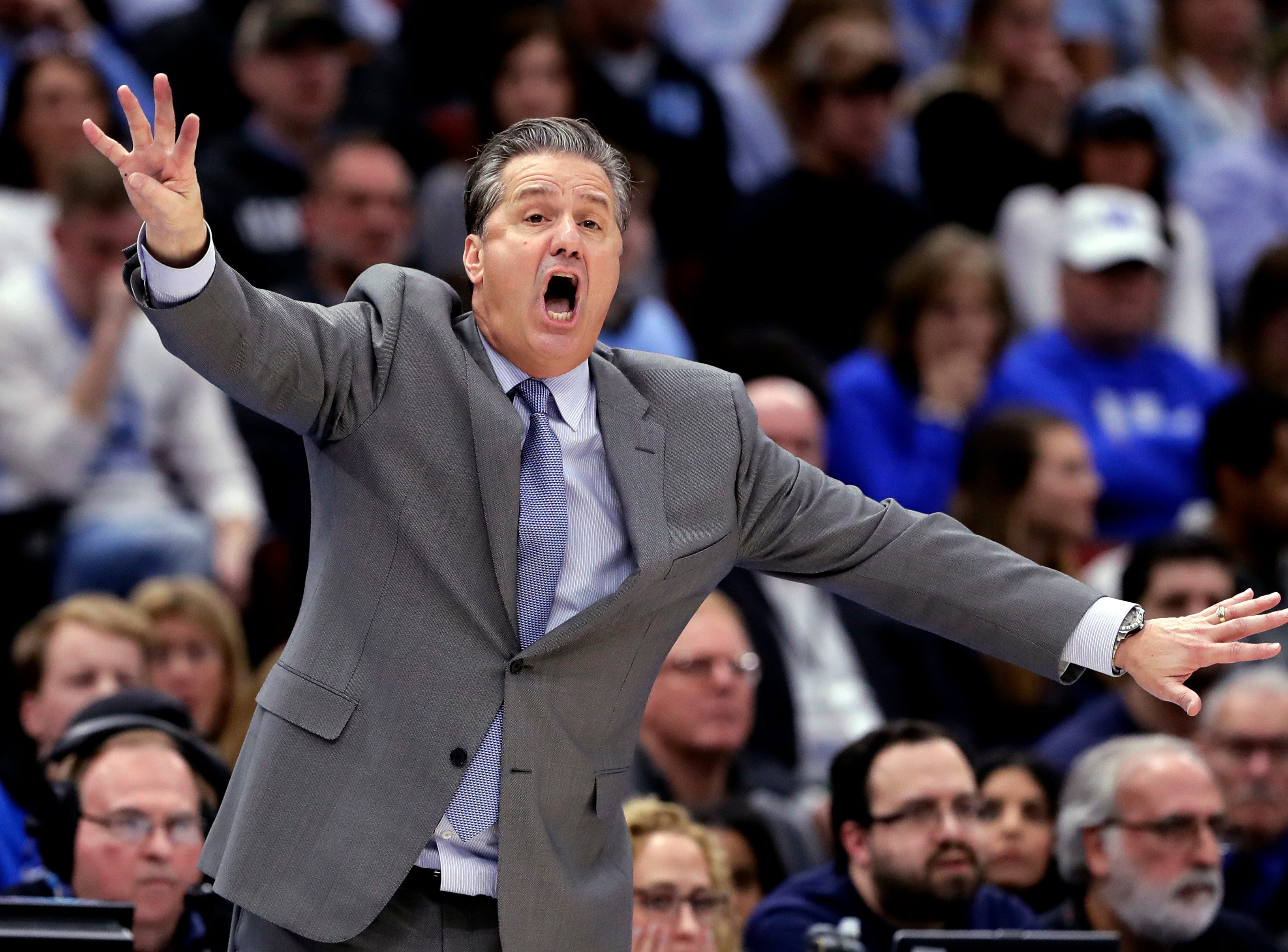Kentucky head coach John Calipari directs his team against North Carolina during the second half of an NCAA college basketball game in the fifth annual CBS Sports Classic, Saturday, Dec. 22, 2018, in Chicago. Kentucky won 80-72.