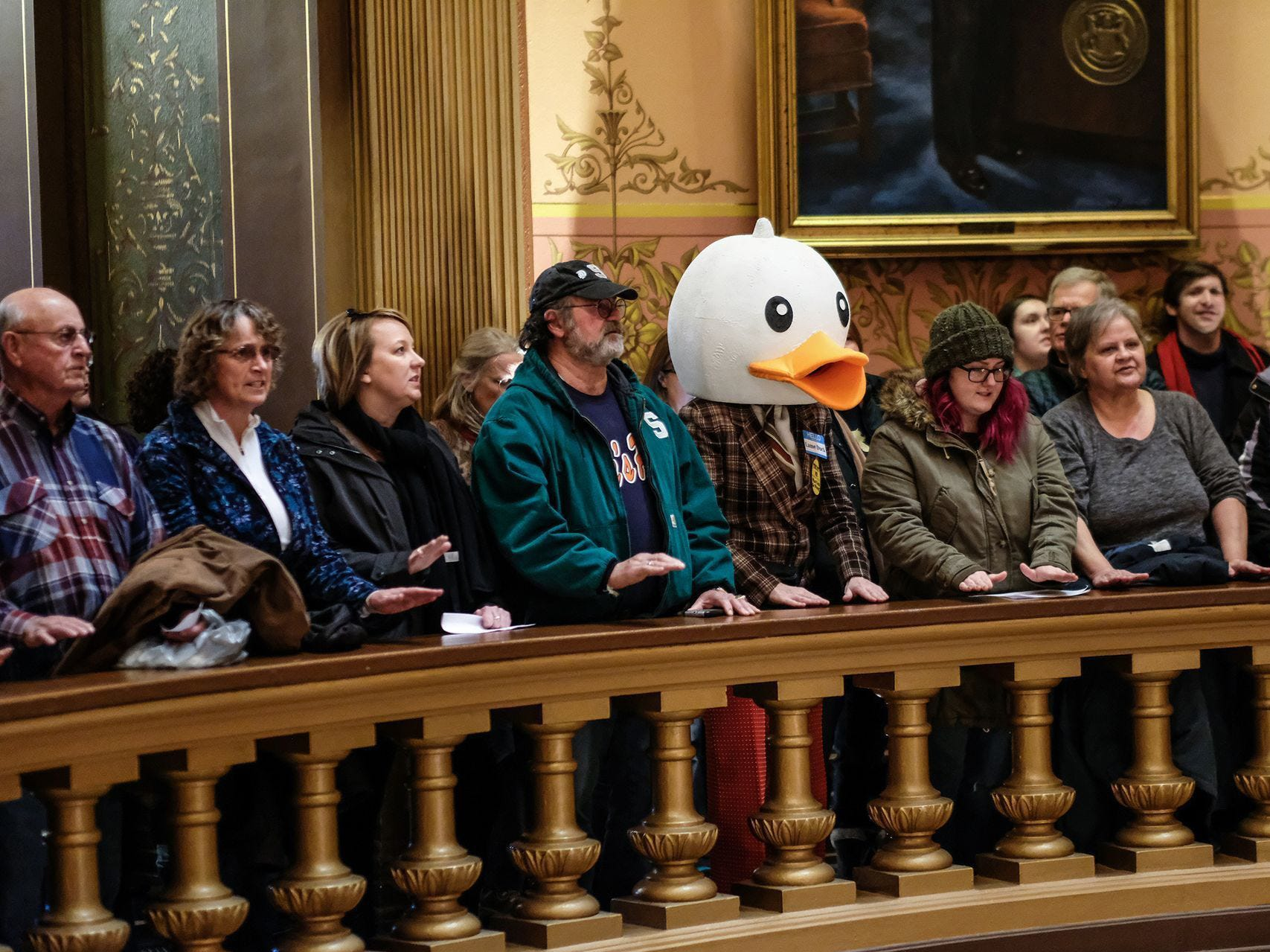 People line the Capitol Rotunda balcony protesting the lame duck legislation proposed by Republicans on Tuesday, Dec. 4, 2018.