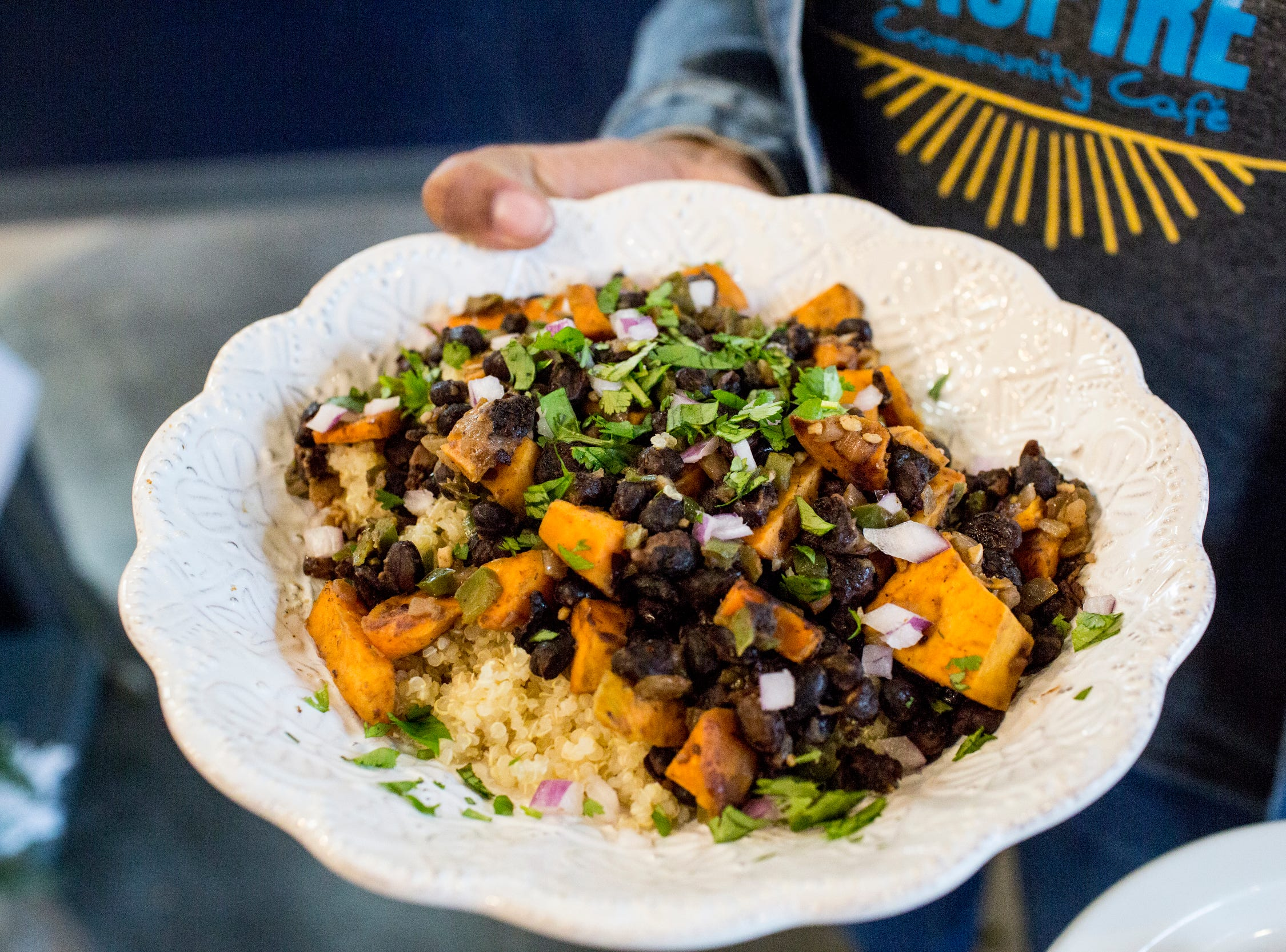 December 23 2018 - The Costa Rican black bean and roasted sweet potato quinoa bowl is seen at Inspire Community Cafeduring the final of three friends & family soft openings before the cafe opens January 4th.