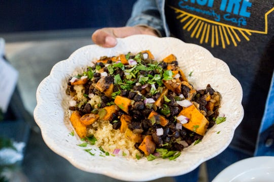 December 23 2018 - The Costa Rican black bean and roasted sweet potato quinoa bowl is seen at Inspire Community Cafe during the final of three friends & family soft openings before the cafe opens January 4th.