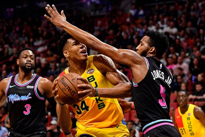 Giannis Antetokounmpo of the Bucks found little room to operate against the Heat on Saturday night as he shot just 3 of 12 on the night for just nine points.