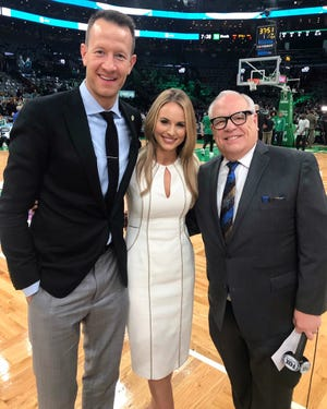 Bucks broadcaster Jim Paschke (right) enjoys mentoring new co-workers Steve Novak and Katie George.