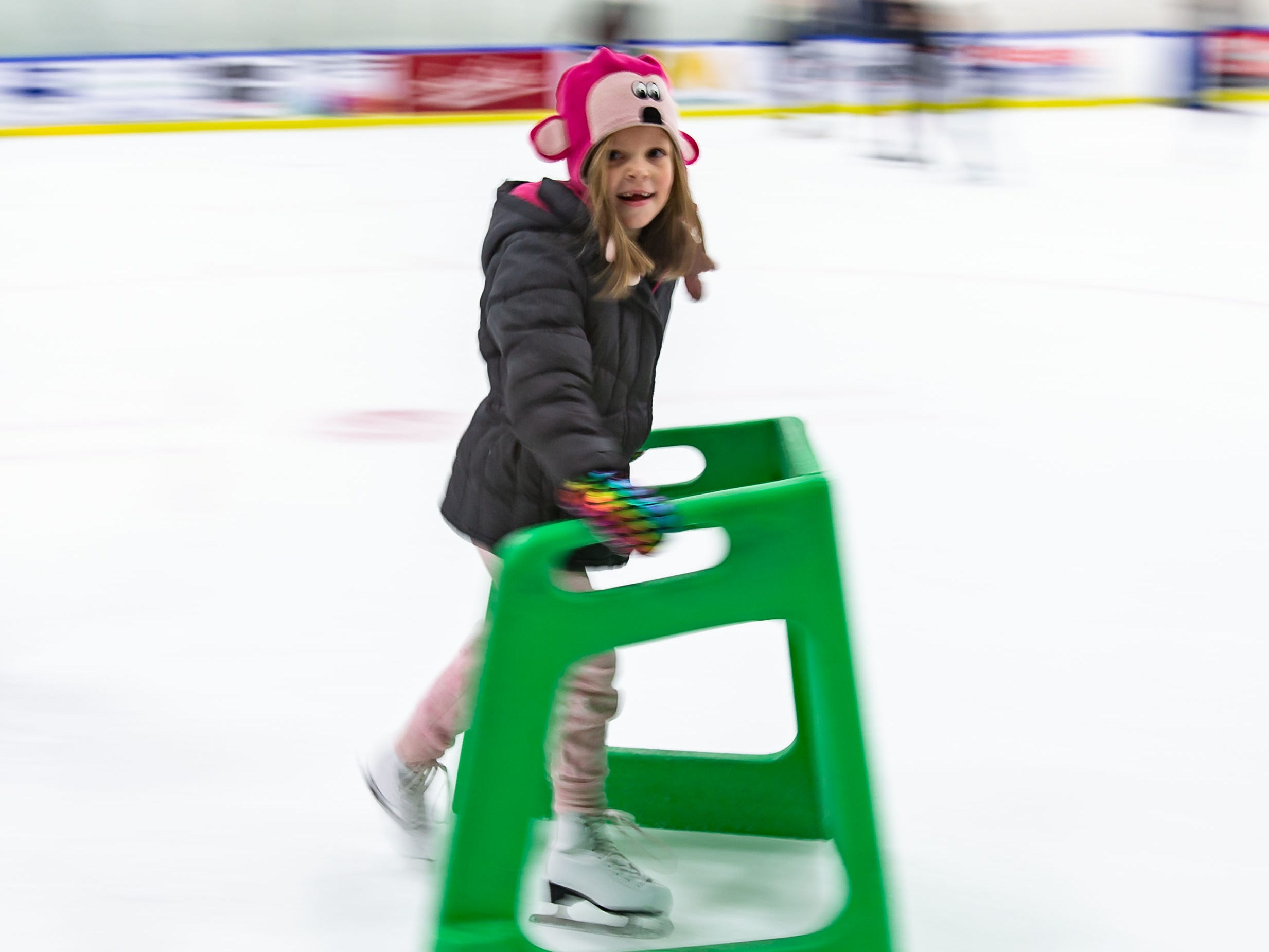 Six-year-old Darcie Olson of Mequon zooms past during public skating hours at the Ozaukee Ice Center in Mequon on Saturday, Dec. 22, 2018. The center offers public skating between 12:15 p.m. and 2:15 p.m. on Saturdays and Sundays.