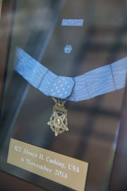 The Medal of Honor awarded to Lt. Alonzo Cushing is on display at Delafield's Hawks Inn Historical Society.