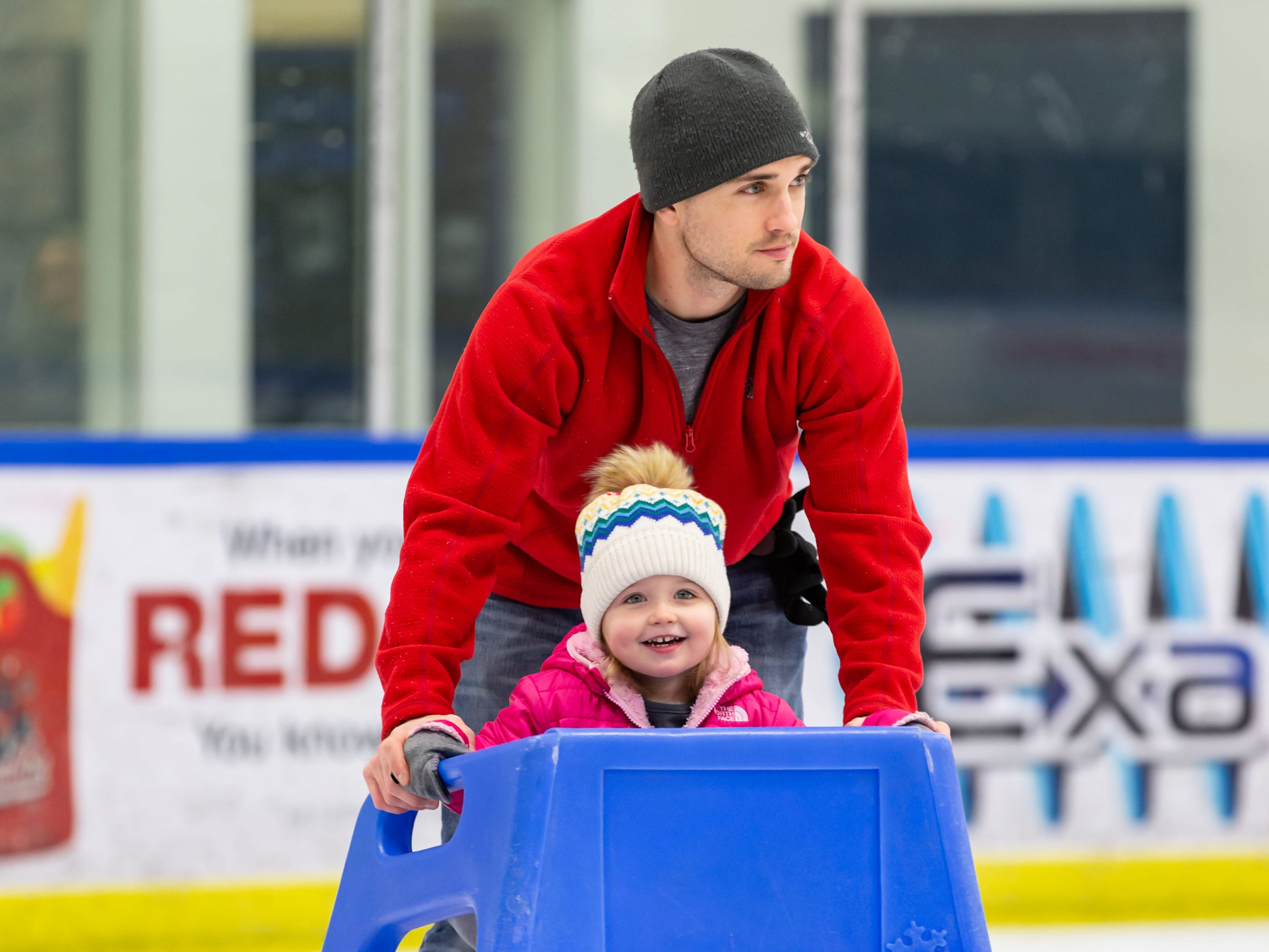 Three-year-old Maddie Lechtenberg and her father John of Grafton zoom around the Ozaukee Ice Center in Mequon during public skating hours on Saturday, Dec. 22, 2018. The center offers public skating between 12:15 p.m. and 2:15 p.m. on Saturdays and Sundays.