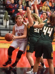 Norfork's Kynzie Rangel drives the baseline during a game earlier this season.