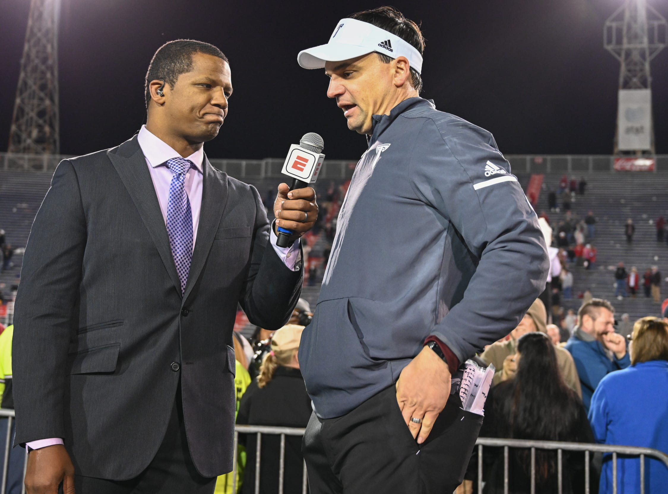Troy head coach Neal Brown is interviewed at the conclusion of the trophy presentation of the Dollar General Bowl held at Ladd-Peebles Stadium in Mobile on Saturday, Dec. 22, 2018.