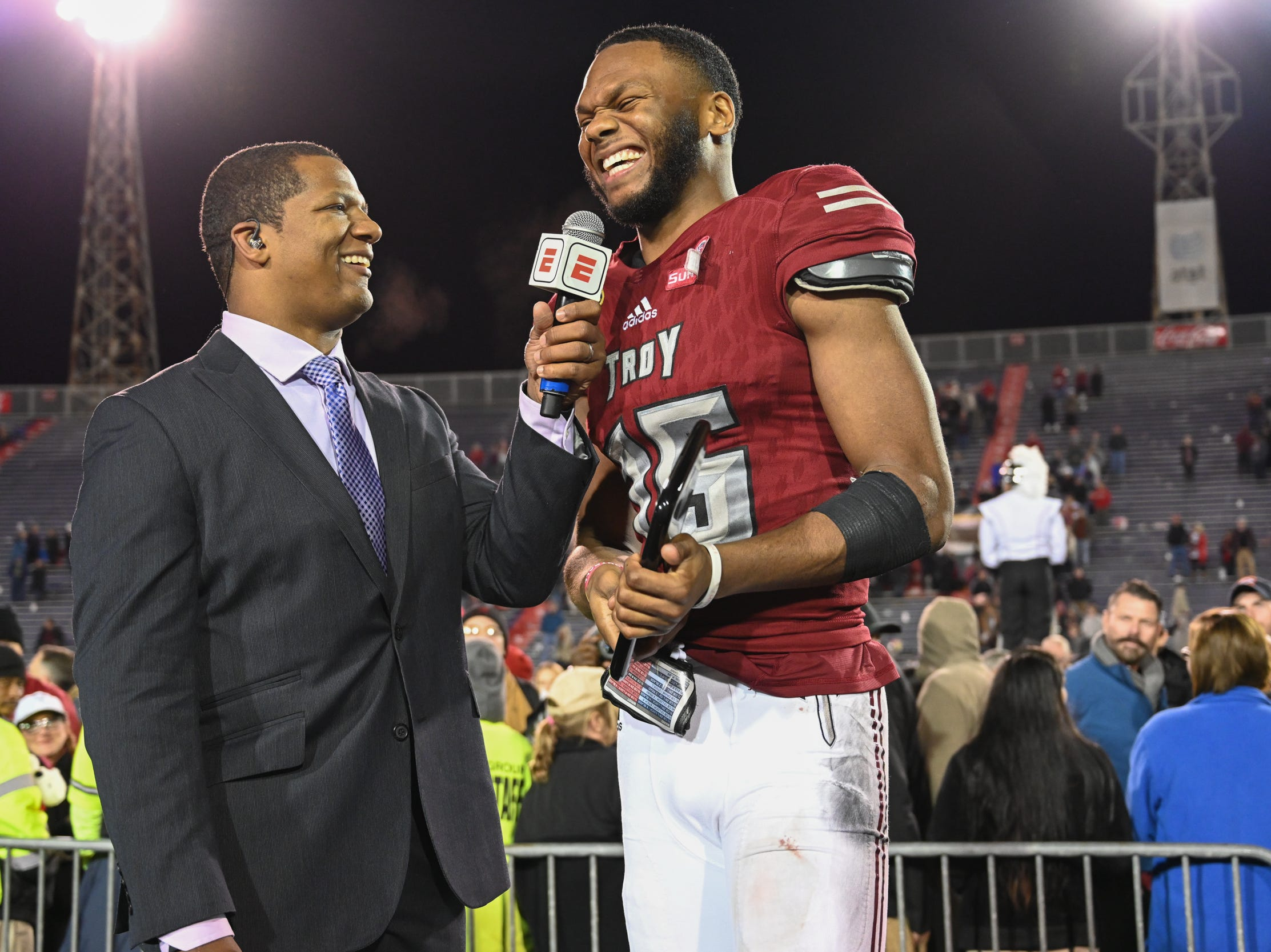 Troy Trojans wide receiver Damion Willis (15) is named most valuable offensive player of the Dollar General Bowl held at Ladd-Peebles Stadium in Mobile on Saturday, Dec. 22, 2018.