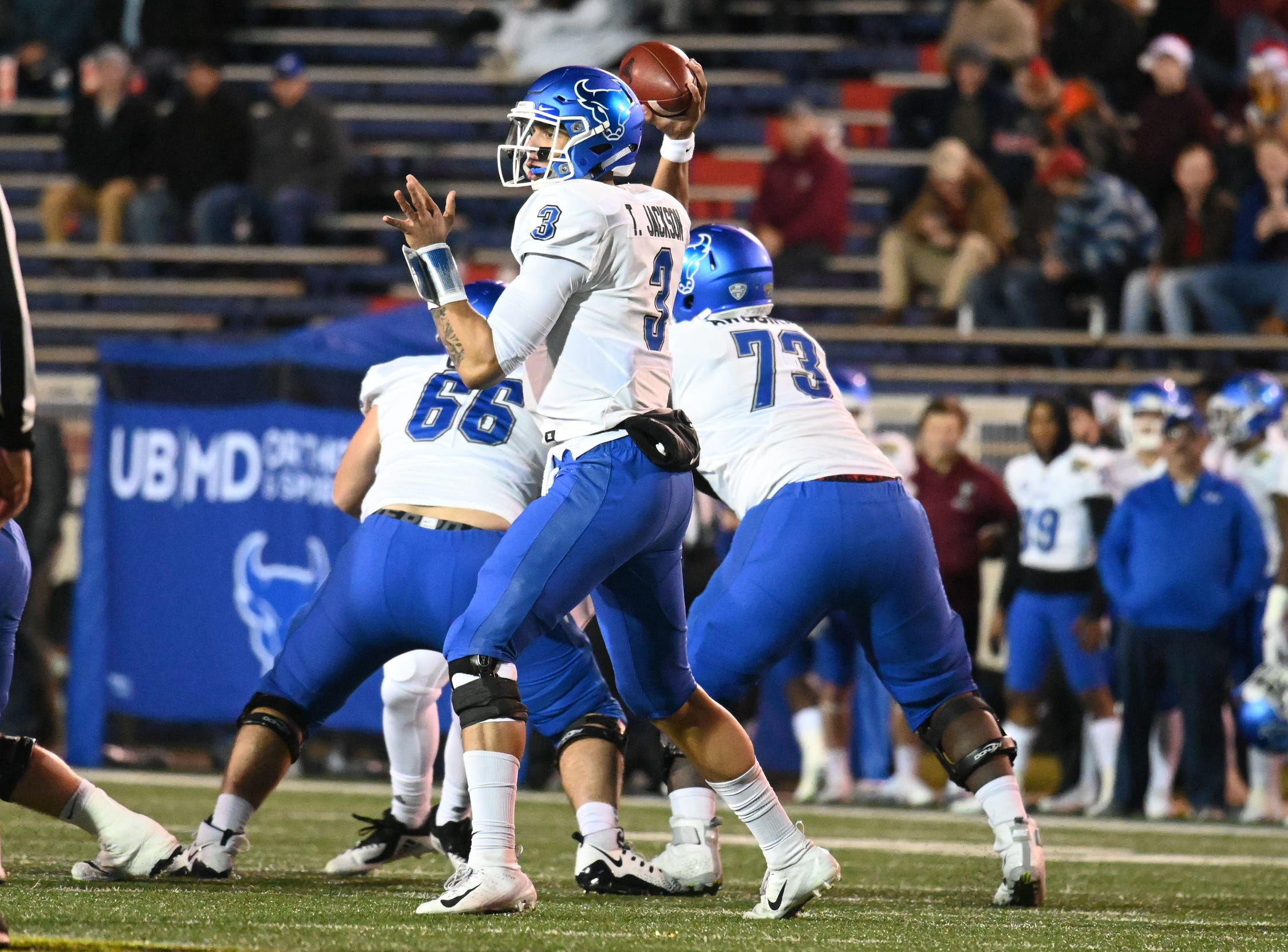 Buffalo Bulls quarterback Tyree Jackson (3) drops back to pass during the Dollar General Bowl held at Ladd-Peebles Stadium in Mobile on Saturday, Dec. 22, 2018.