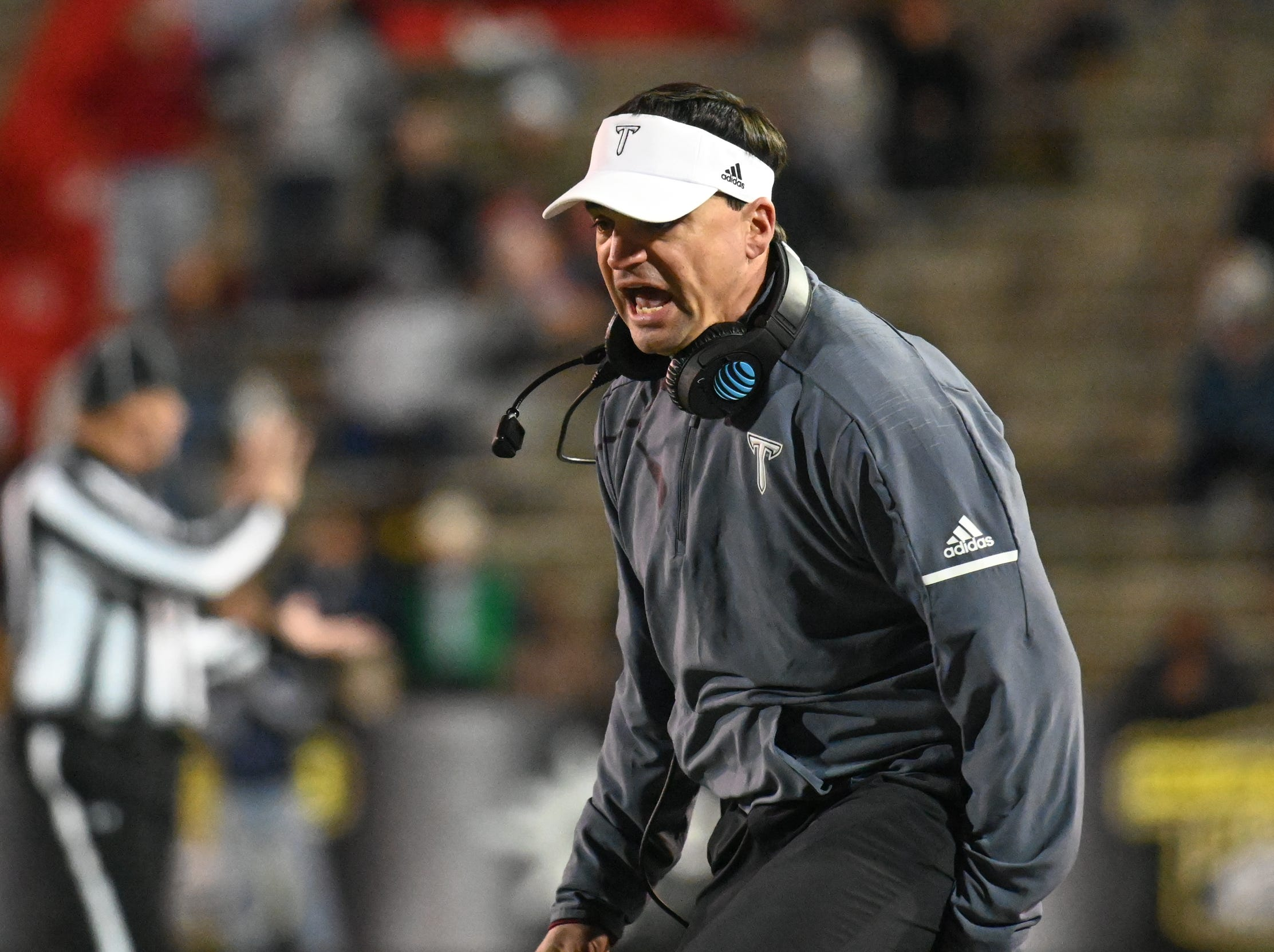 Troy head coach Neal Brown shows his disgust with a call against Troy during the Dollar General Bowl held at Ladd-Peebles Stadium in Mobile on Saturday, Dec. 22, 2018.