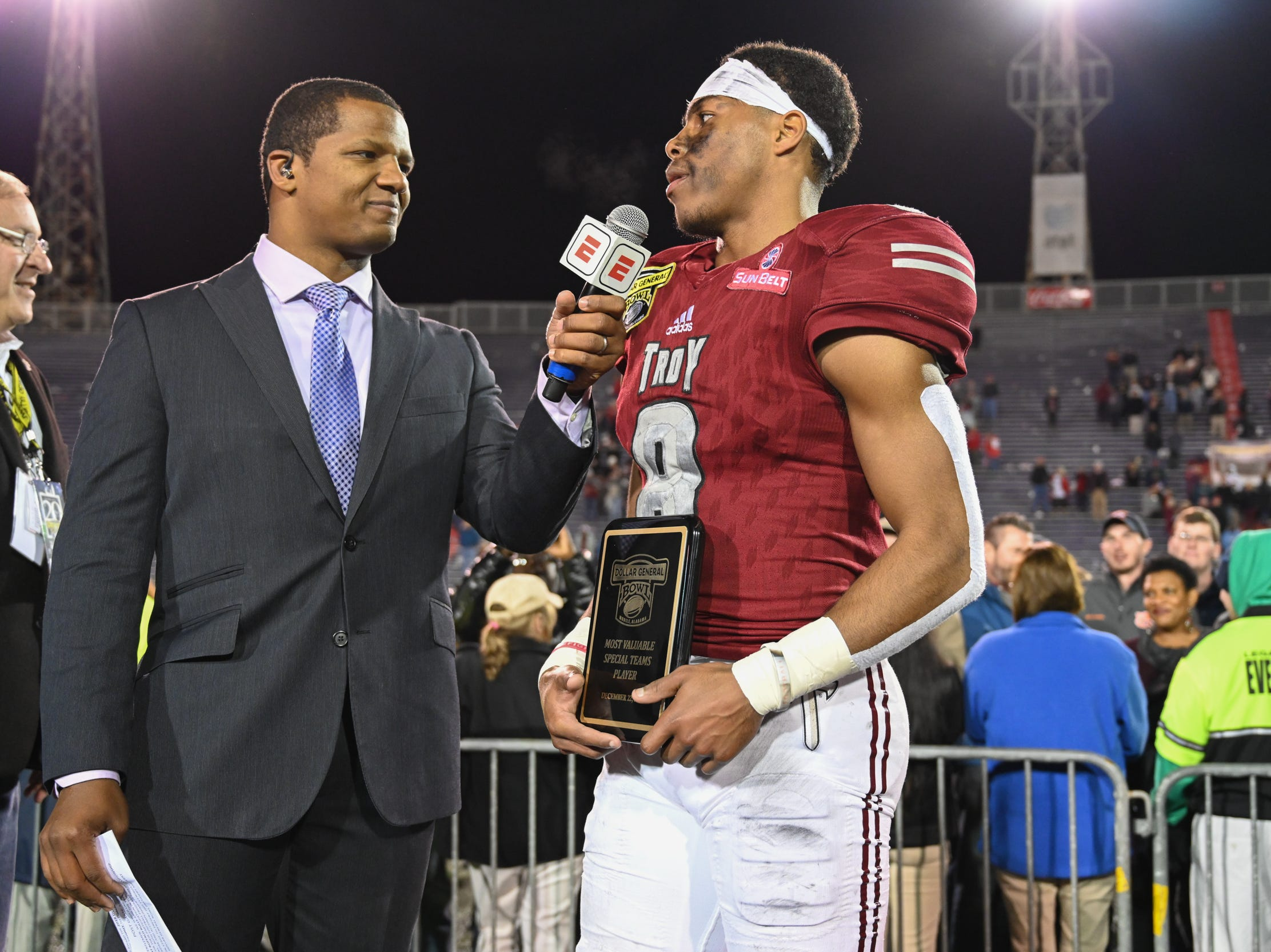Troy Trojans cornerback Marcus Jones (8) is named most valuable special team player of the the Dollar General Bowl held at Ladd-Peebles Stadium in Mobile on Saturday, Dec. 22, 2018.