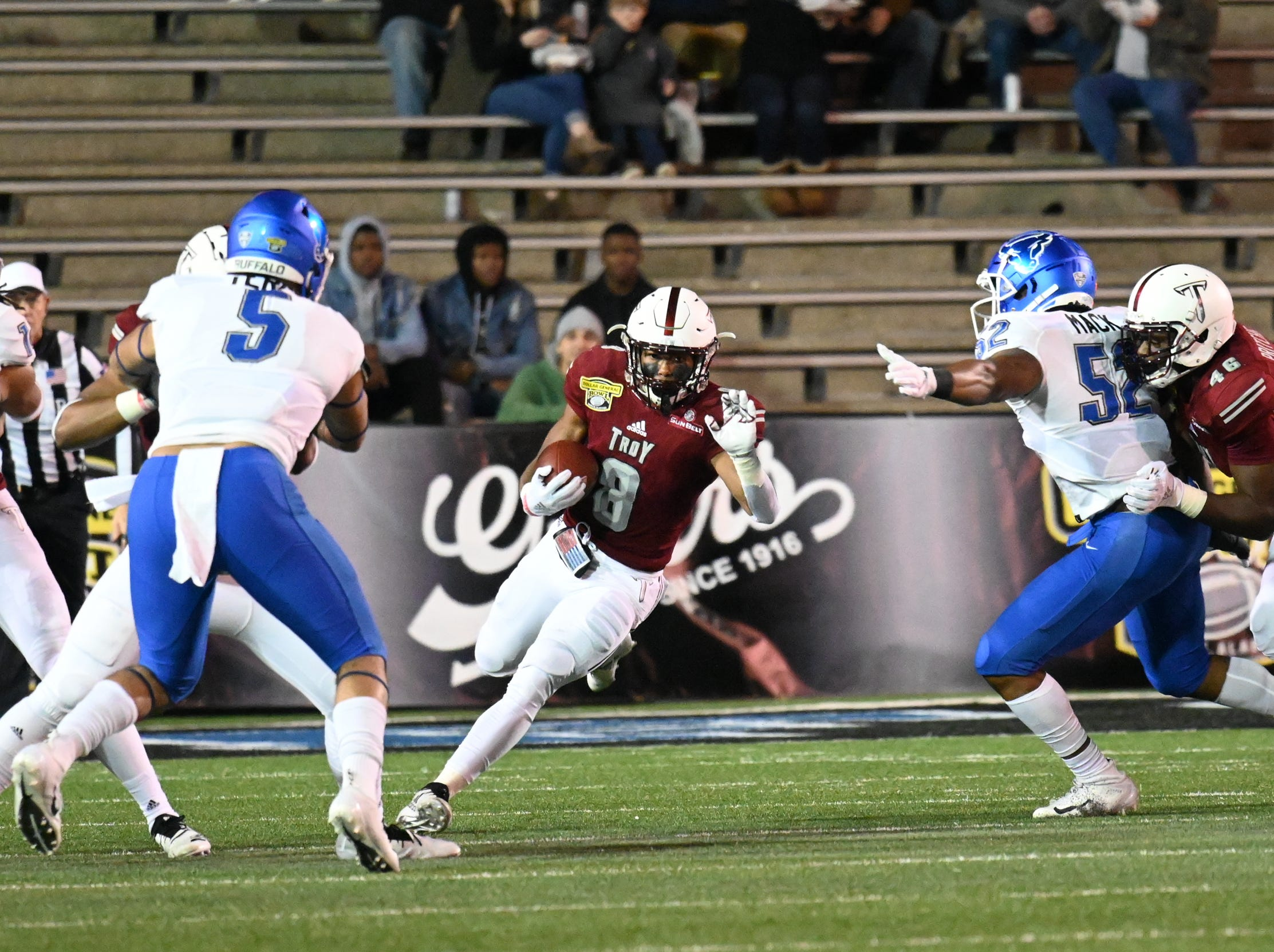 Troy Trojans cornerback Marcus Jones (8) runs the ball up the middle against Buffalo during the Dollar General Bowl held at Ladd-Peebles Stadium in Mobile, on Saturday, Dec. 22, 2018.