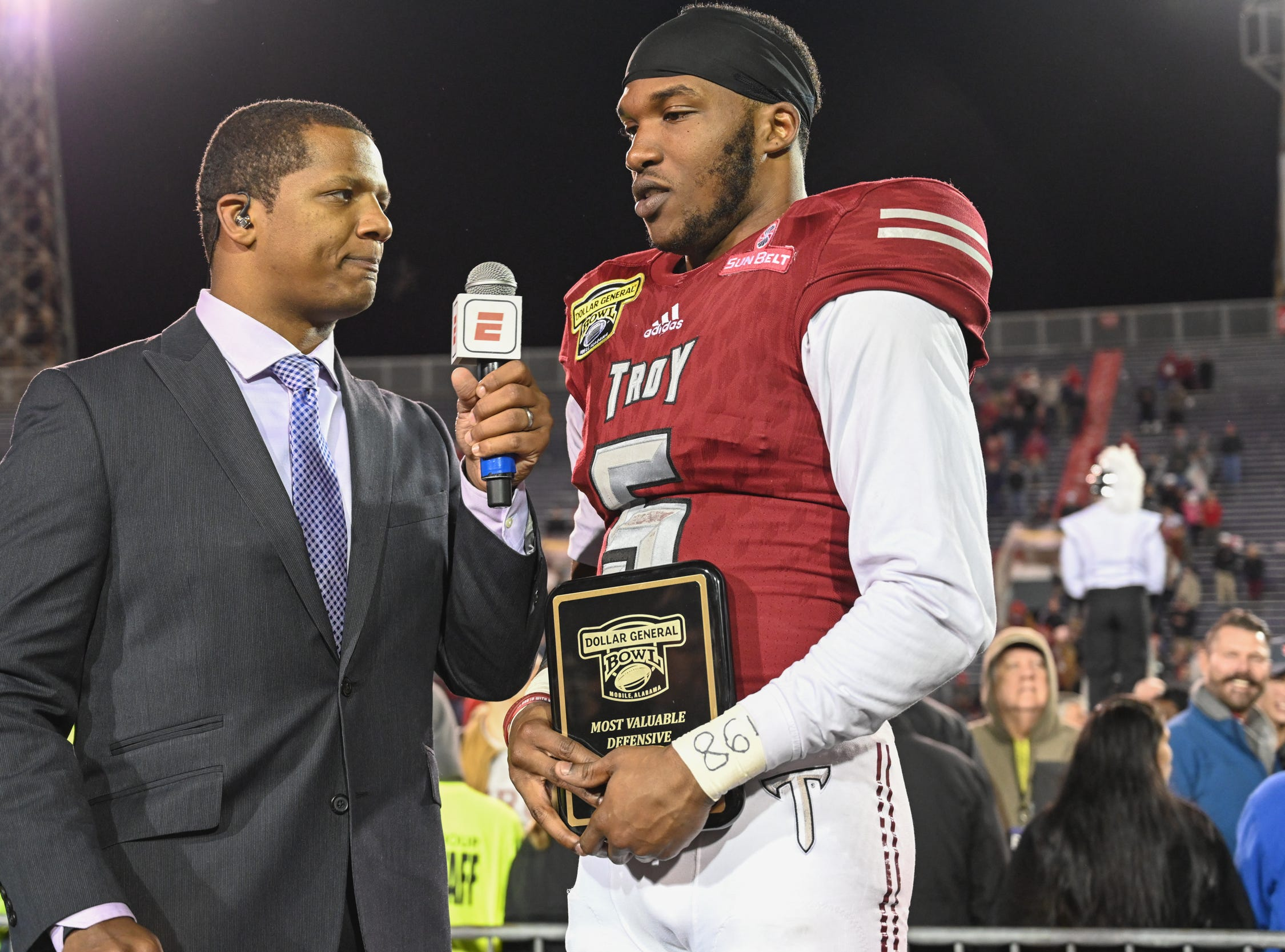 Troy Trojans safety Cedarius Rookard (5) is named defensive player of  the Dollar General Bowl held at Ladd-Peebles Stadium in Mobile on Saturday, Dec. 22, 2018.