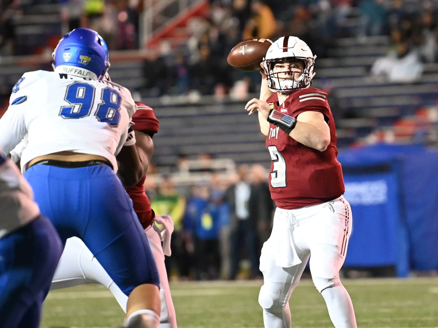 Troy Trojans quarterback Sawyer Smith (3) drops back to pass against Buffalo during the Dollar General Bowl held at Ladd-Peebles Stadium in Mobile on Saturday, Dec. 22, 2018.