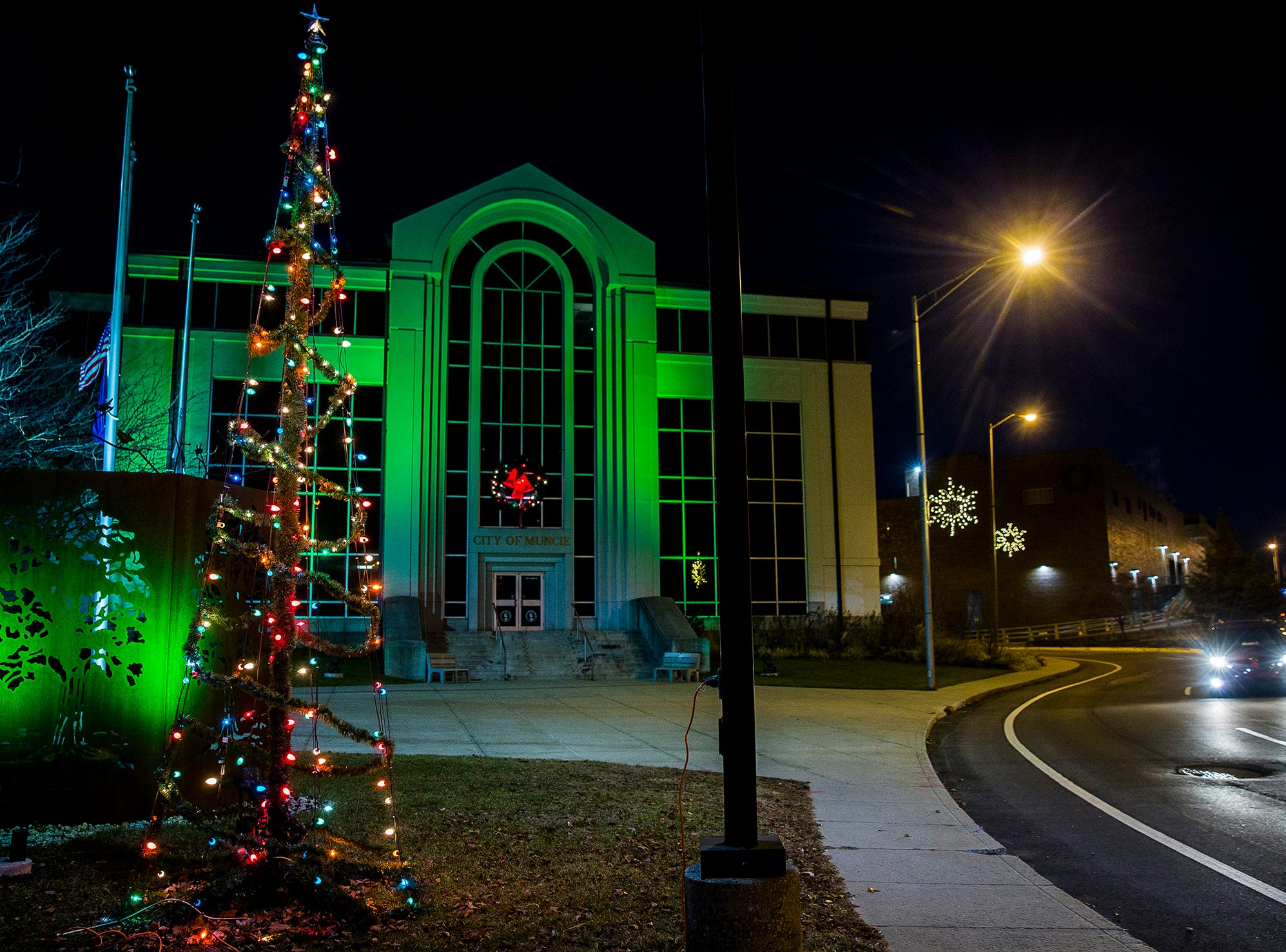 Muncie's City Hall decorated for Christmas.
