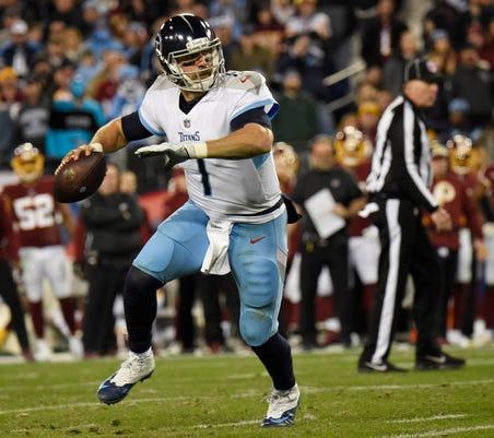6f12abdf641 Titans quarterback Blaine Gabbert (7) throws a touchdown pass to tight end  MyCole Pruitt (85) in the fourth quarter at Nissan Stadium Saturday, Dec.