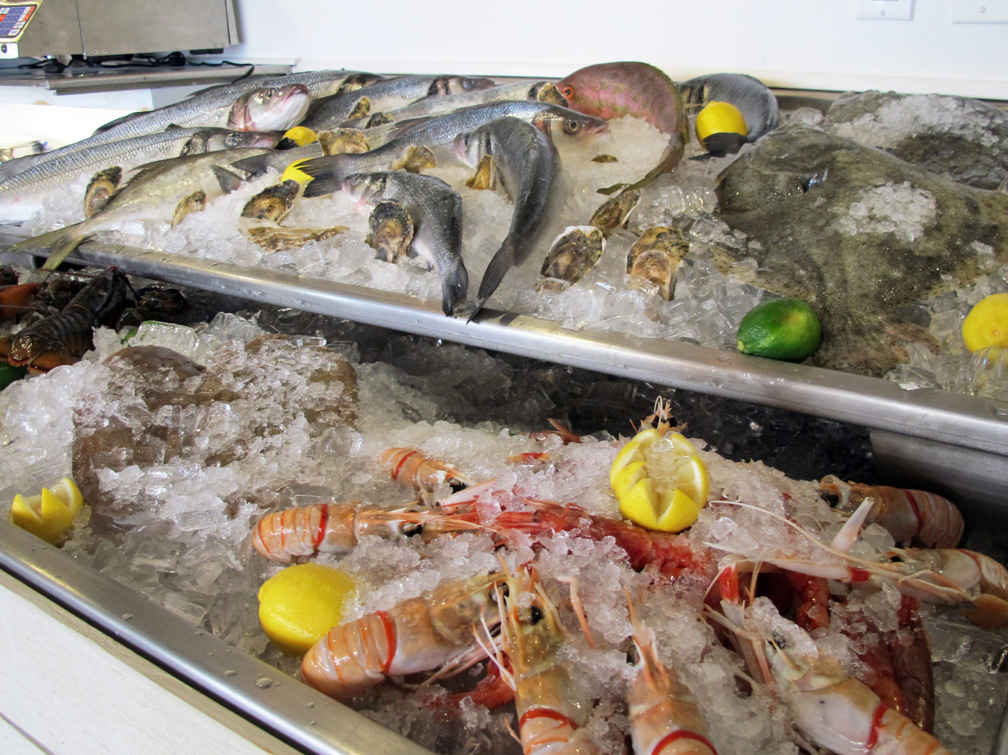 Seafood displayed on ice at La Pescheria, a restaurant that recently opened on Fifth Avenue South in downtown Naples.