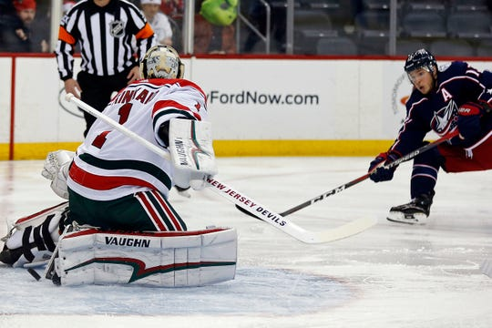 reputable site 432b1 6043d Devils' goaltending problems exposed in 3-0 loss to Blue Jackets