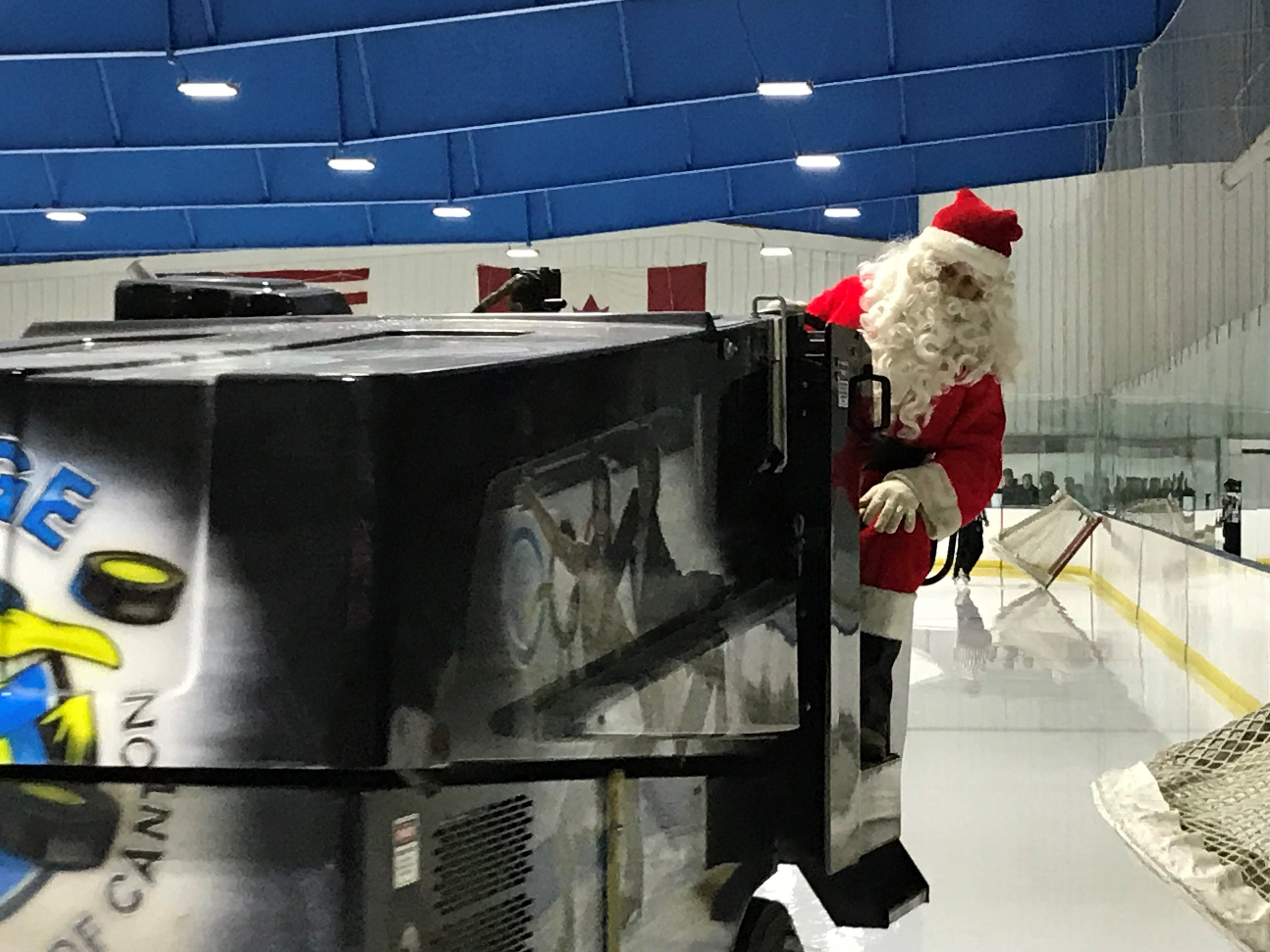 Hockey fans at Arctic Edge in Canton enjoyed a Santa sighting in-between periods.