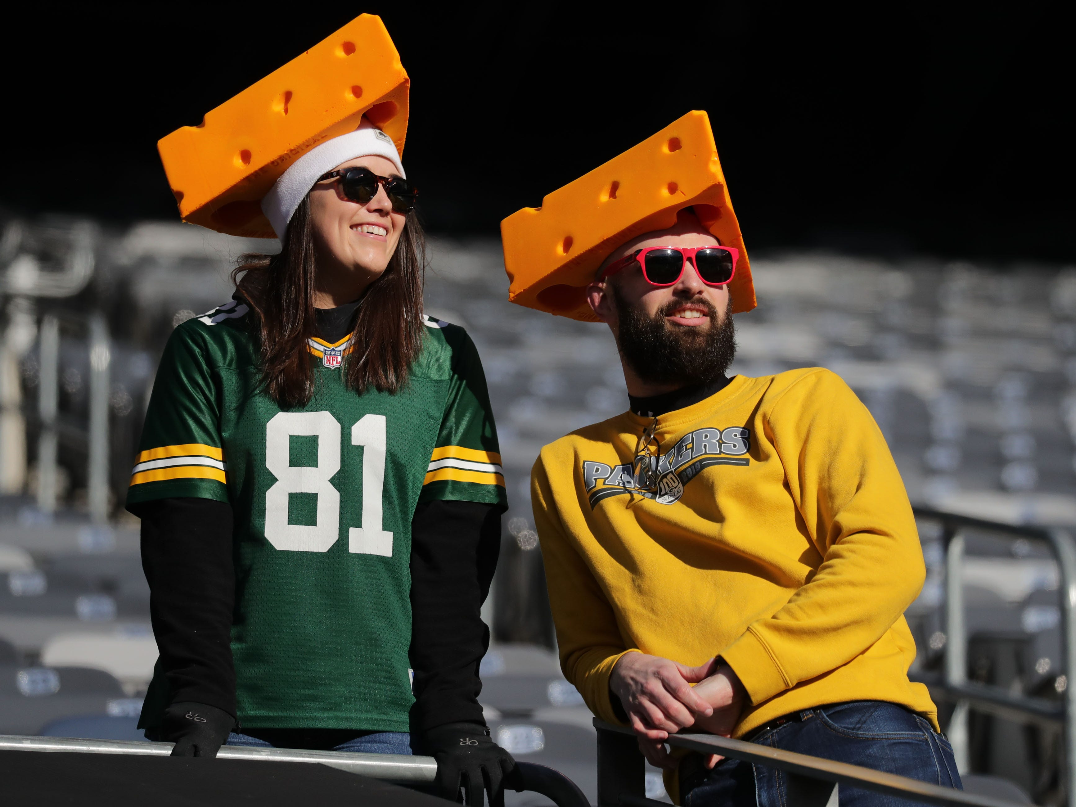 Green Bay Packers fans don cheesehead hats before the Green Bay Packers game against the New York Jets at MetLife Stadium Sunday, Dec. 23, 2018, in East Rutherford.