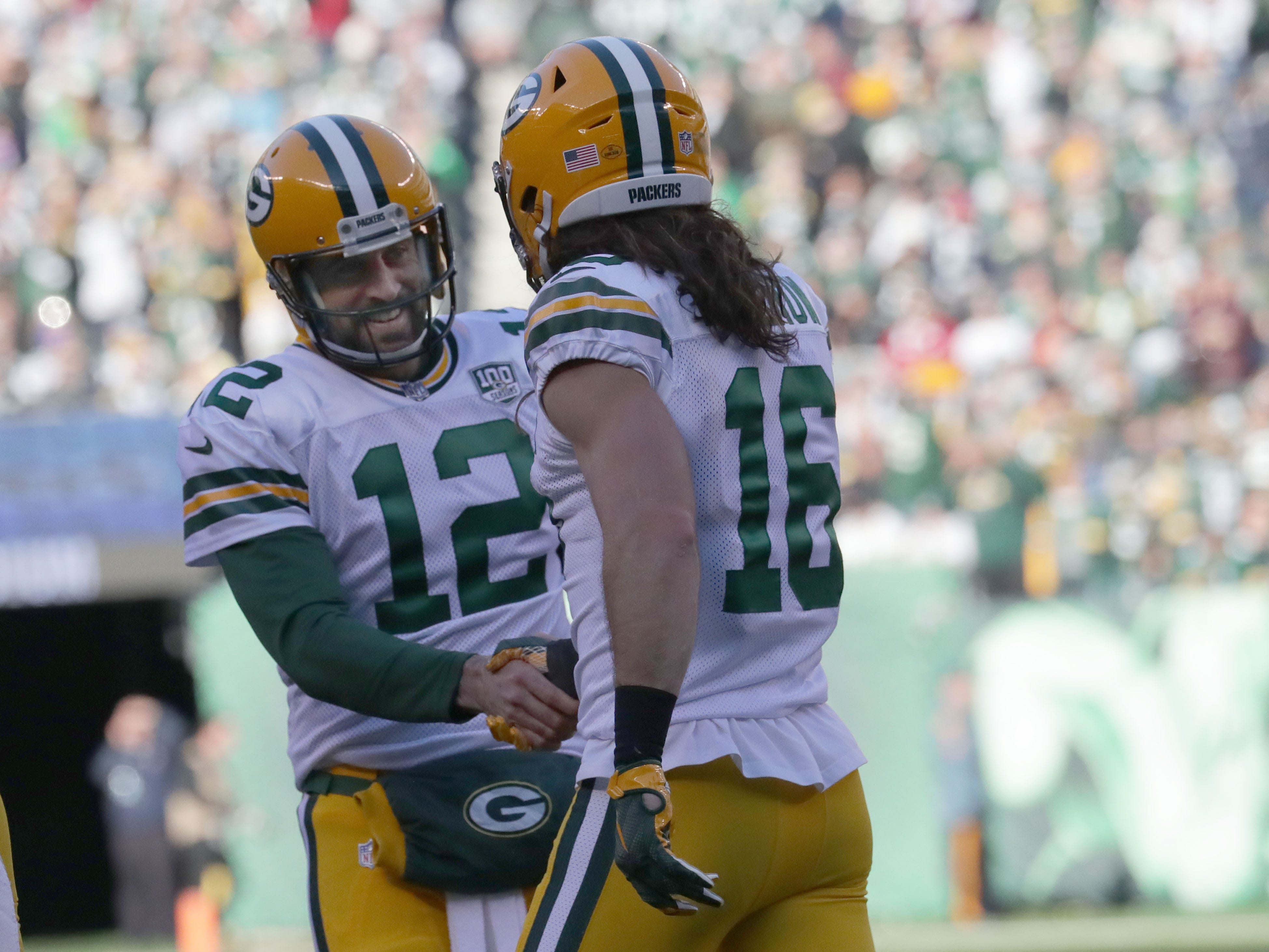 Green Bay Packers' Aaron Rodgers celebrates with Jake Kumerow after his touchdown catch during first half of the Green Bay Packers game against the New York Jets at MetLife Stadium Sunday, Dec. 23, 2018, in East Rutherford.