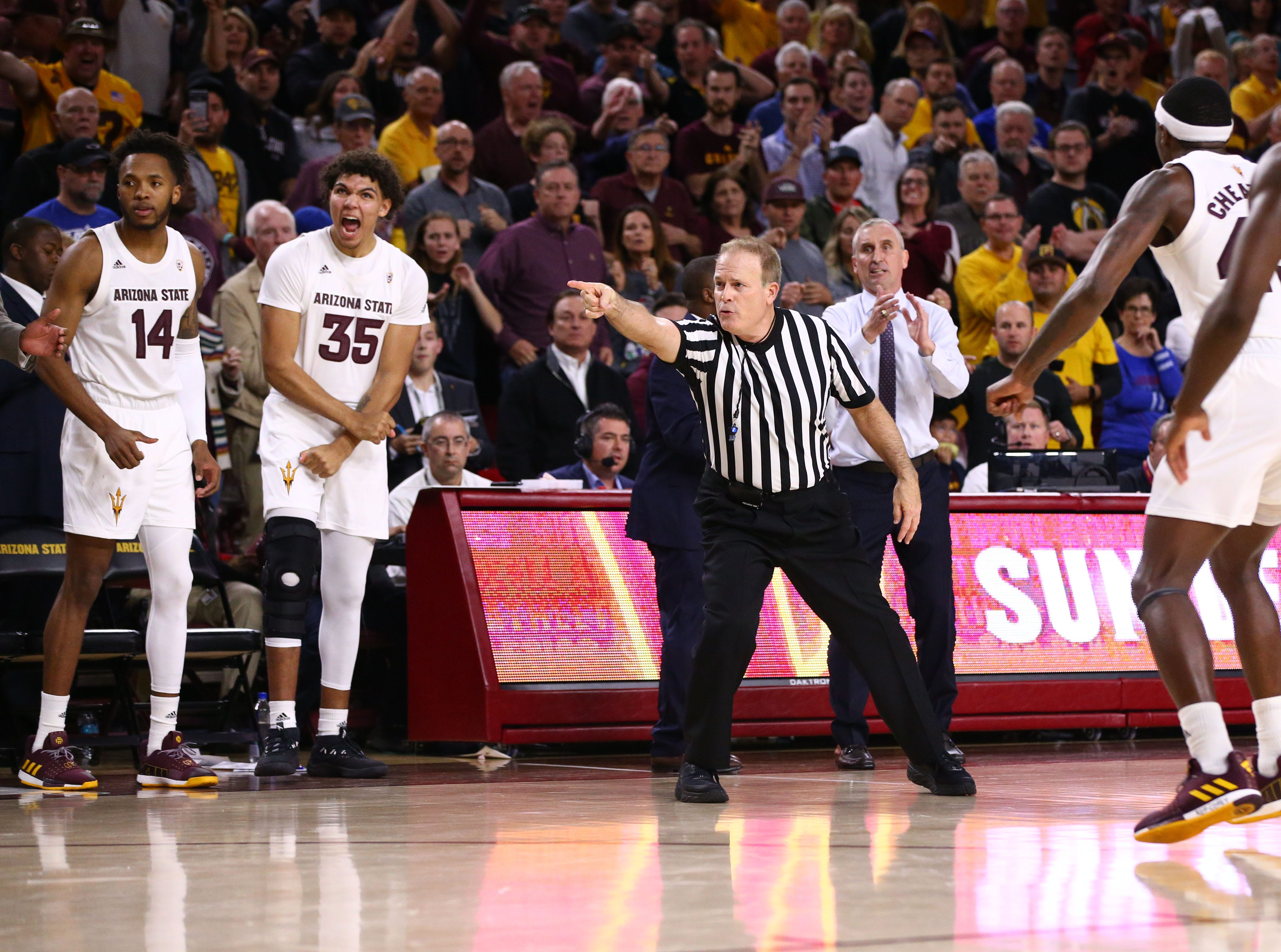 Arizona State recovers a loose ball against Kansas late in the second half on Dec. 22 at Wells Fargo Arena.