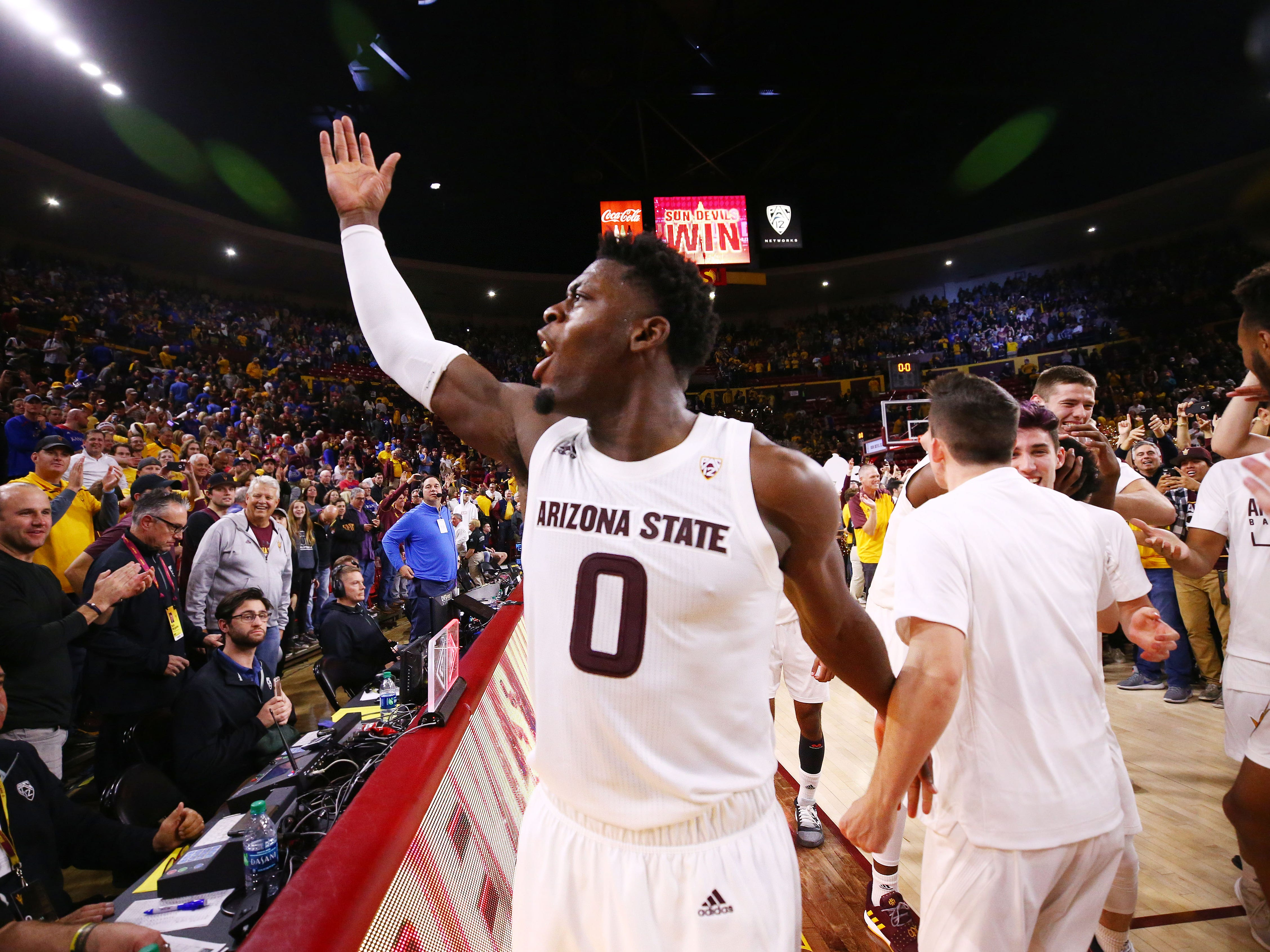 Arizona State's Luguentz Dort celebrates their win over Kansas on Dec. 22 at Wells Fargo Arena.