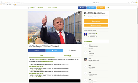 screenshot of the gofundme campaign we the people will fund the wall