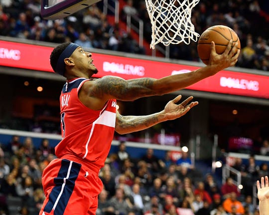 Dec 21, 2018; Washington, DC, USA; Washington Wizards guard Bradley Beal (3) soots against the Phoenix Suns during the second quarter at Capital One Arena. Mandatory Credit: Brad Mills-USA TODAY Sports