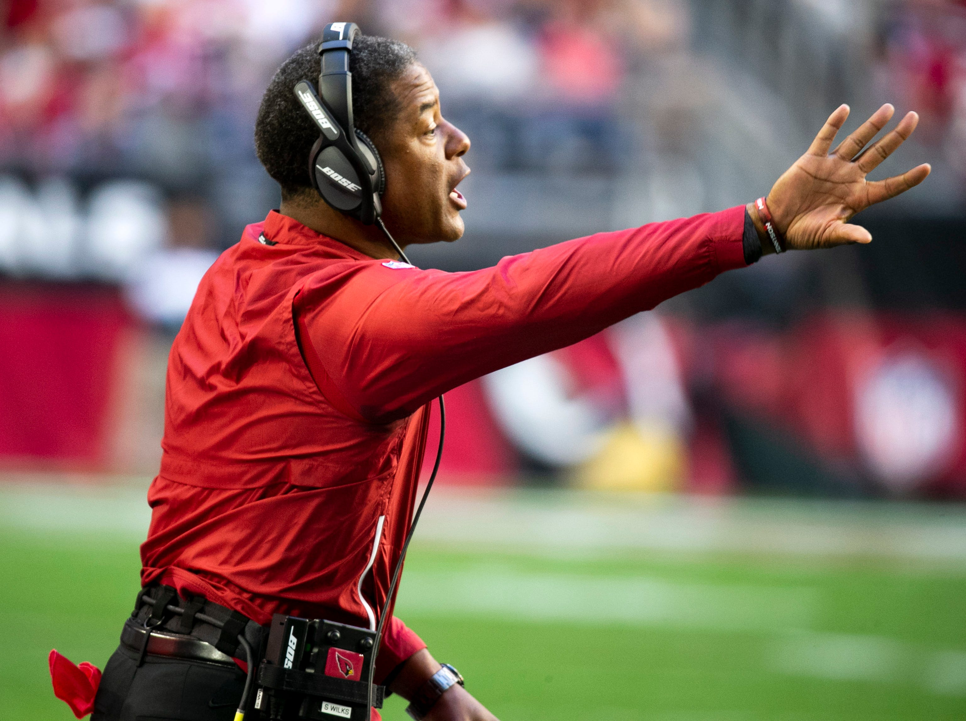 Cardinals head coach Steve Wilks during the second quarter of the NFL game against the Rams at State Farm Stadium in Glendale on Sunday, December 23, 2018.