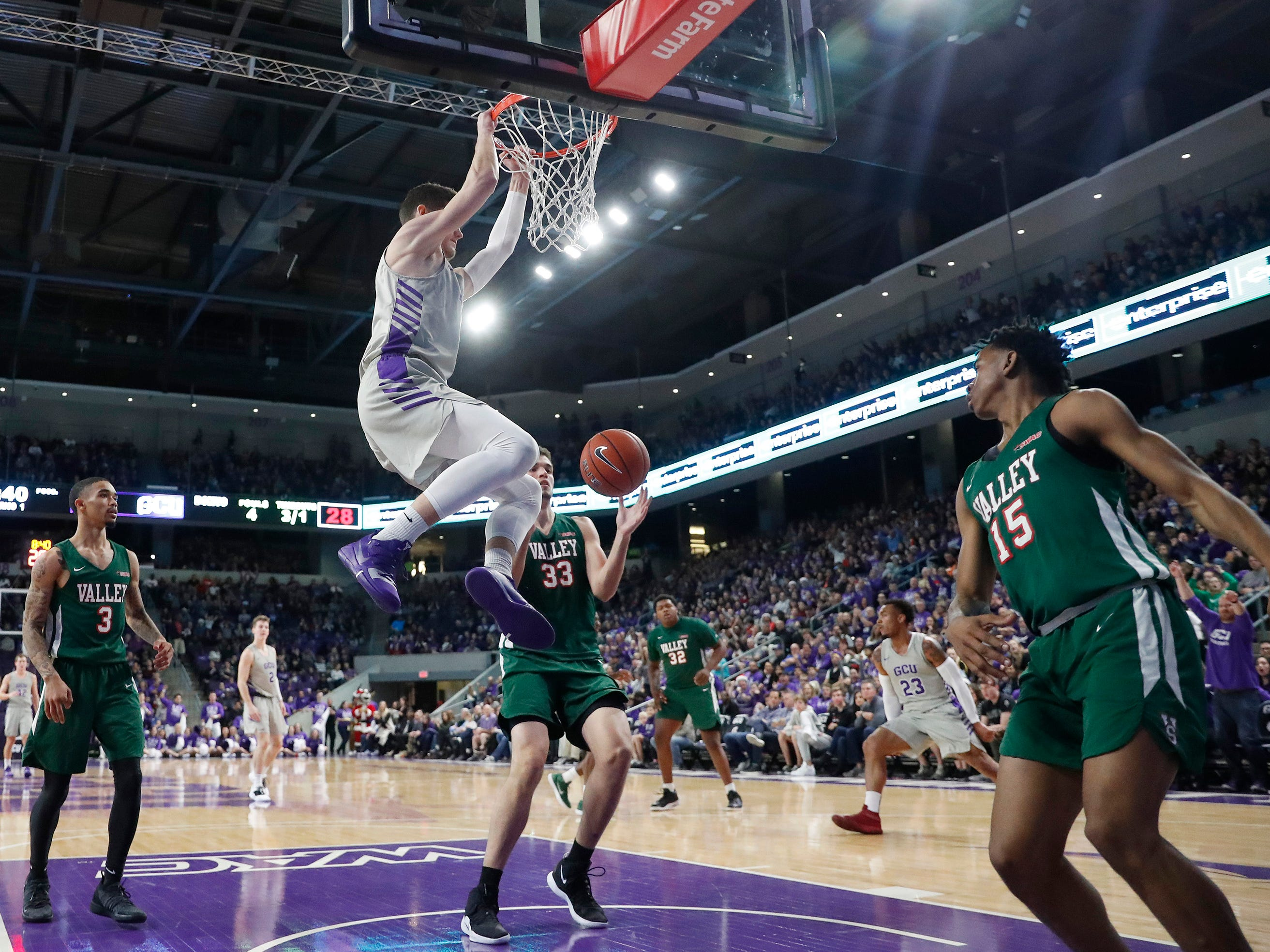 Grand Canyon's Trey Drechsel scores against Mississippi Valley State.