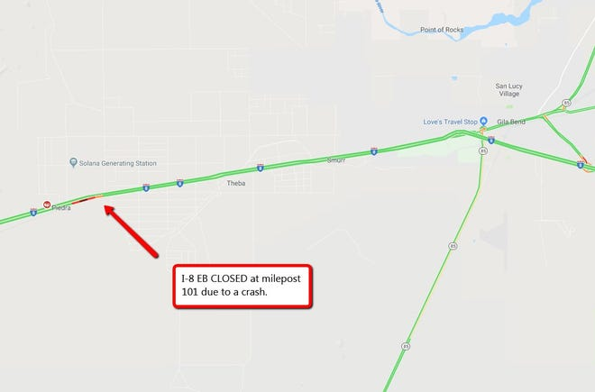 A fatal crash closed Interstate 8 at milepost 101, roughly 16 miles from Gila Bend on Dec. 22.
