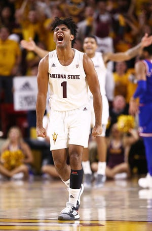 Arizona State guard Remy Martin celebrates a basket against Kansas in the second half on Dec. 22 at Wells Fargo Arena.