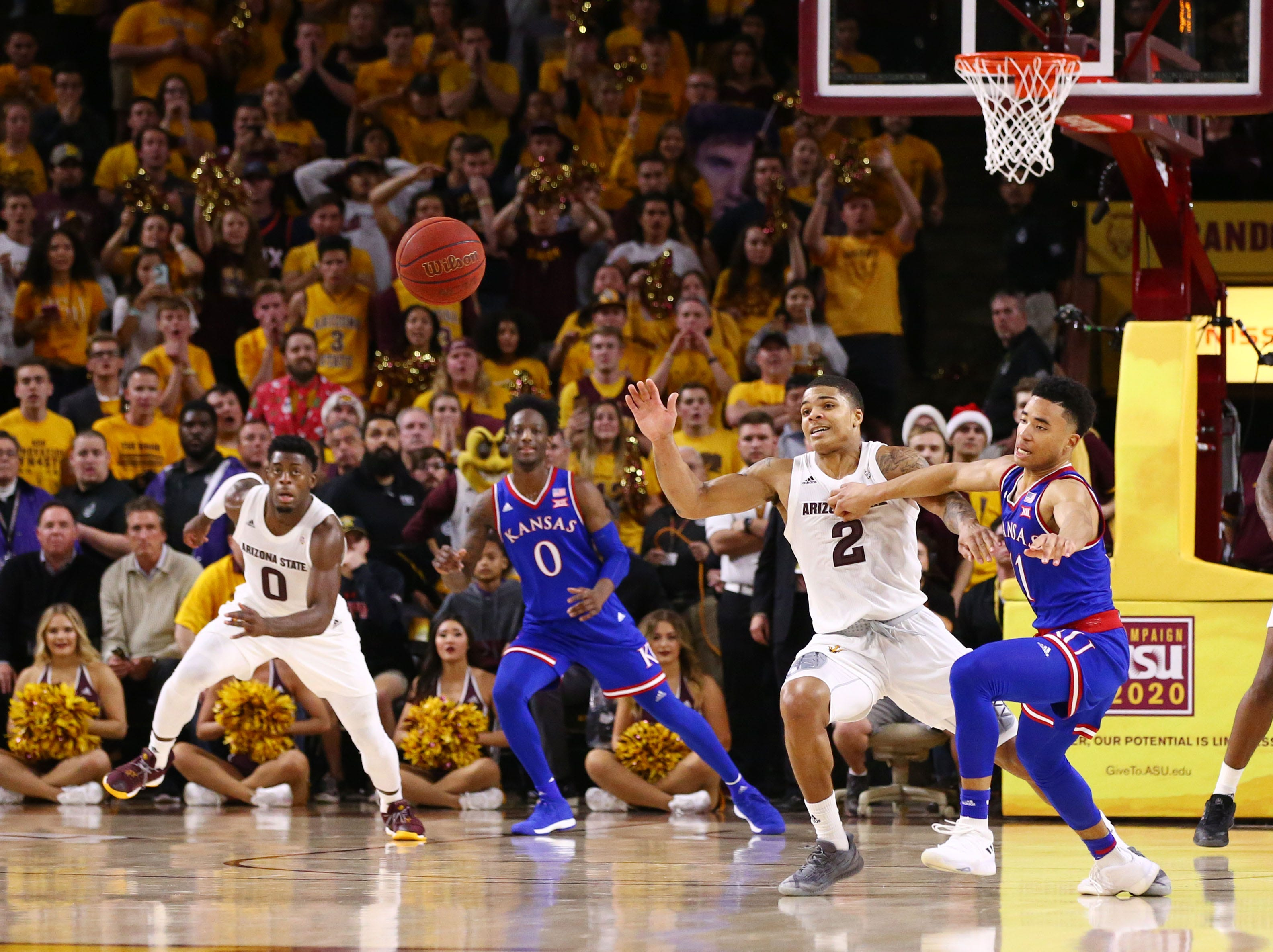 Kansas throws the ball away against Arizona State late in the second half on Dec. 22 at Wells Fargo Arena.