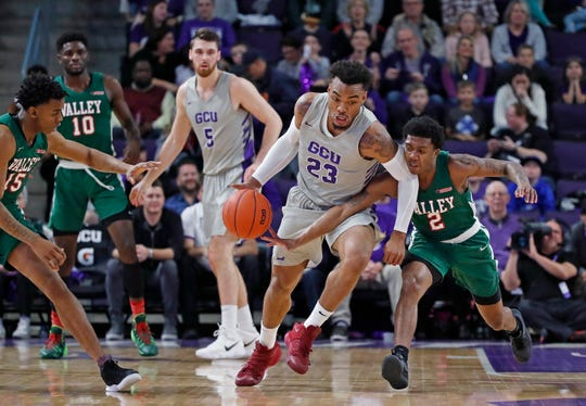 Grand Canyon's Carlos Johnson drives against Mississippi Valley State.