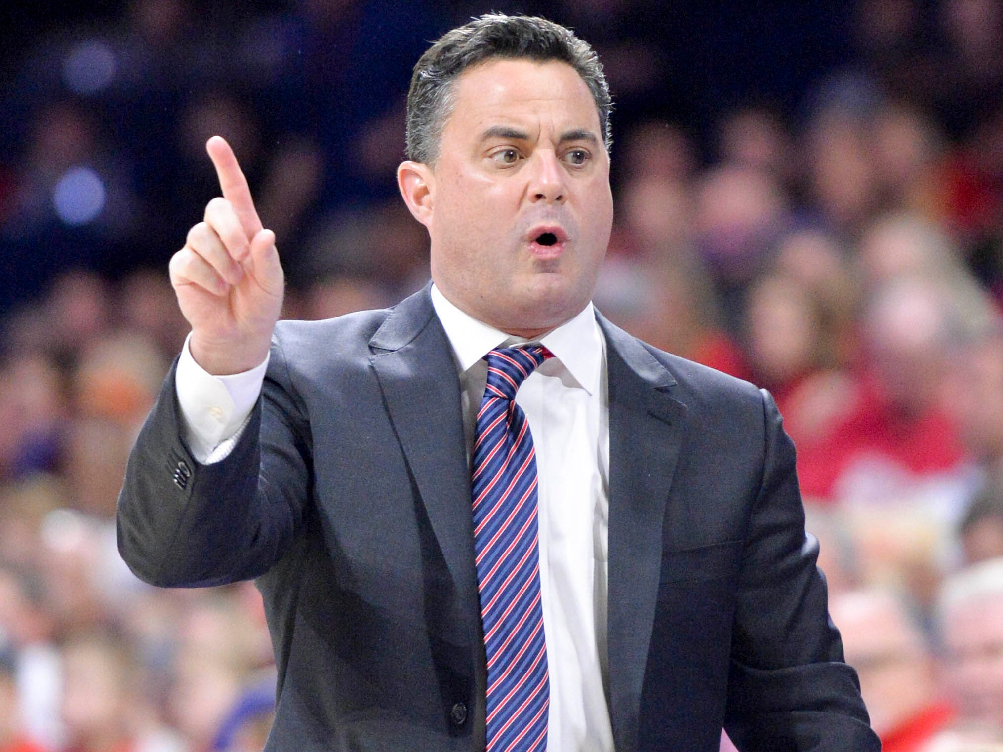 Dec 22, 2018; Tucson, AZ, USA; Arizona Wildcats head coach Sean Miller signals to the bench during the first half against the UC Davis Aggies at McKale Center. Mandatory Credit: Casey Sapio-USA TODAY Sports