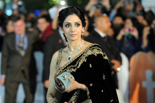 "Sridevi attends the premiere of her film ""English Vinglish"" on Sept. 14, 2012, in Toronto, Canada."