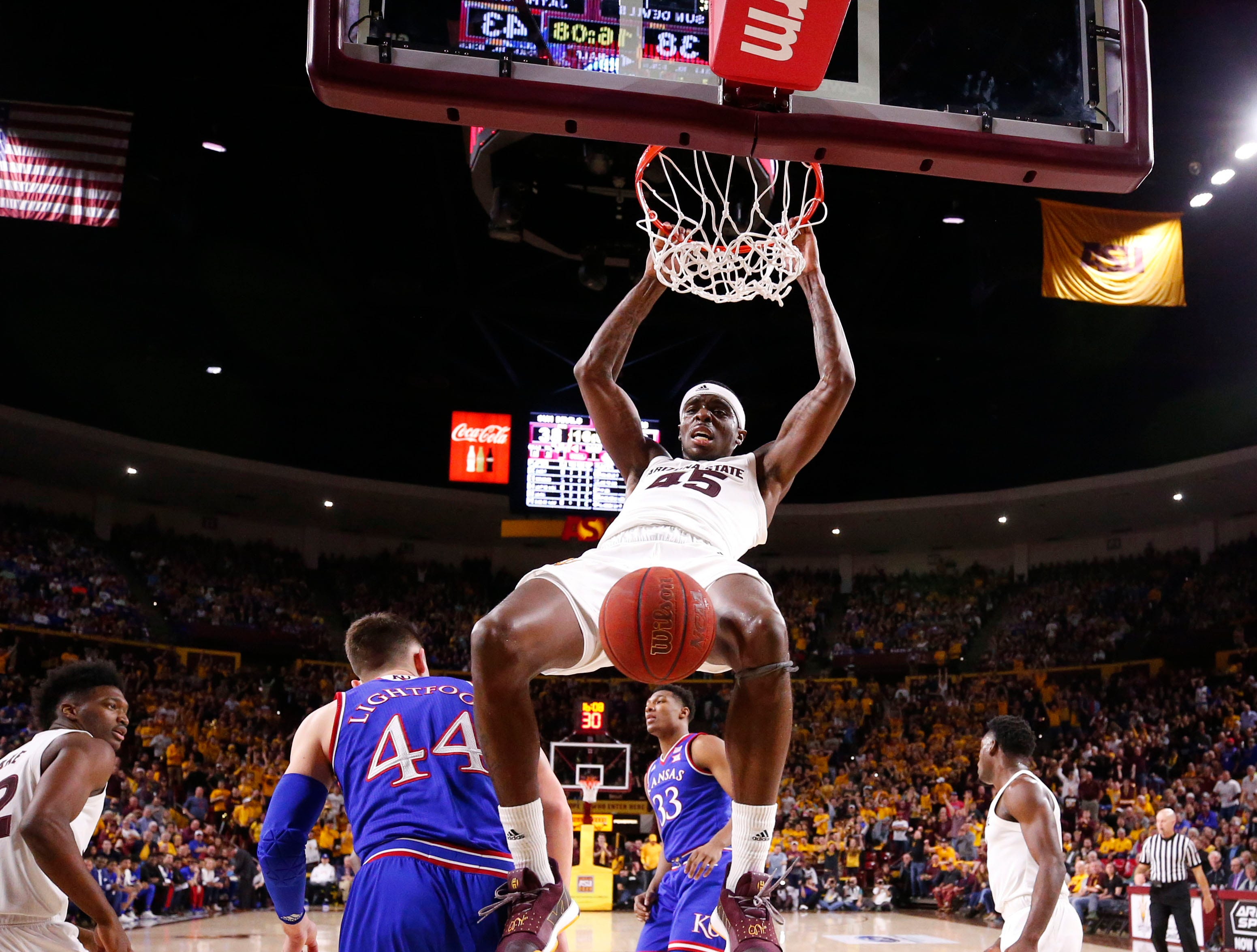 Arizona State forward Zylan Cheatham slam-dunks the ball against Kansas late in the second half on Dec. 22 at Wells Fargo Arena.